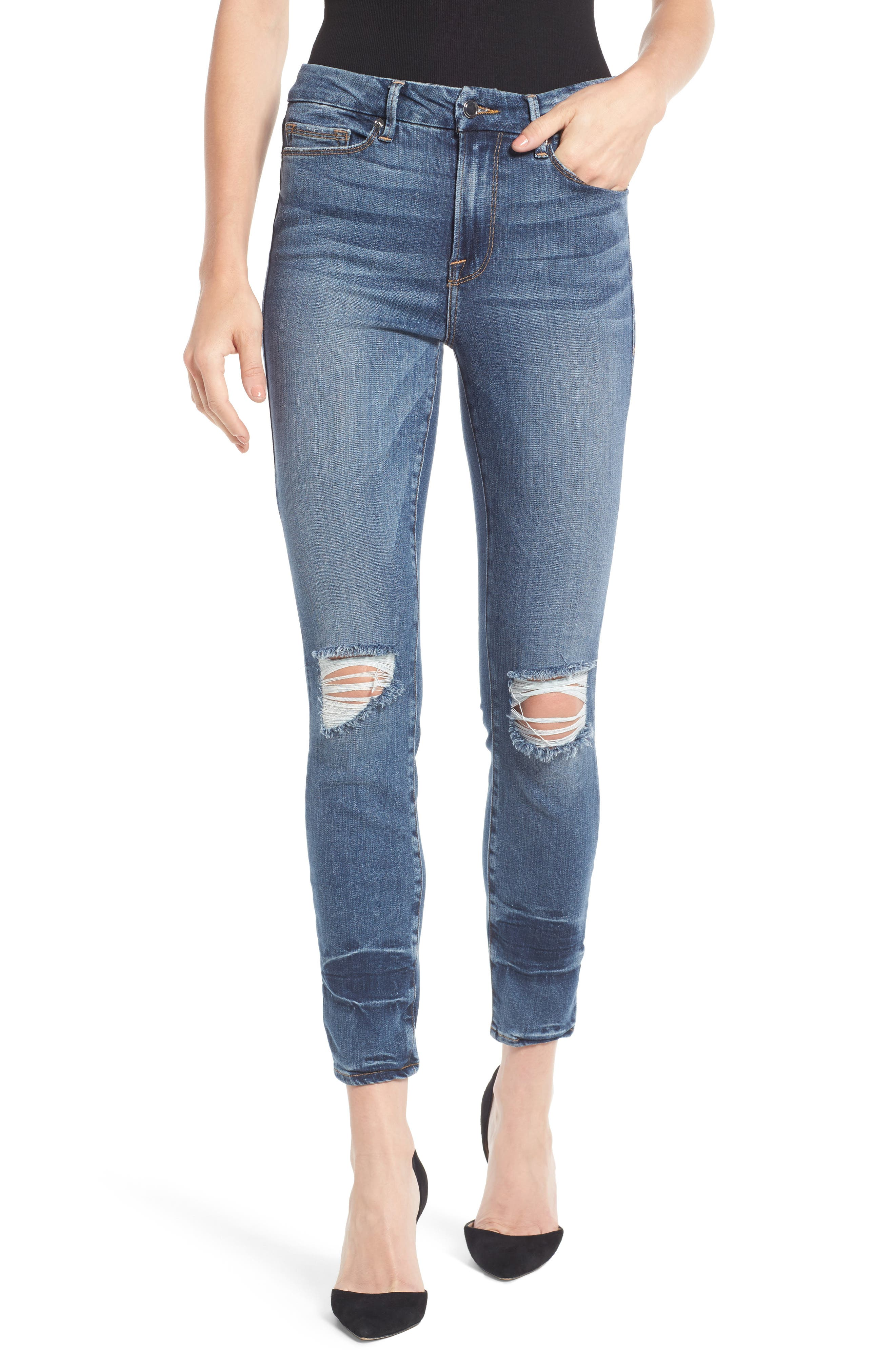 Alternate Image 1 Selected - Good American Good Legs High Waist Ankle Skinny Jeans (Blue 084) (Regular & Plus Size)
