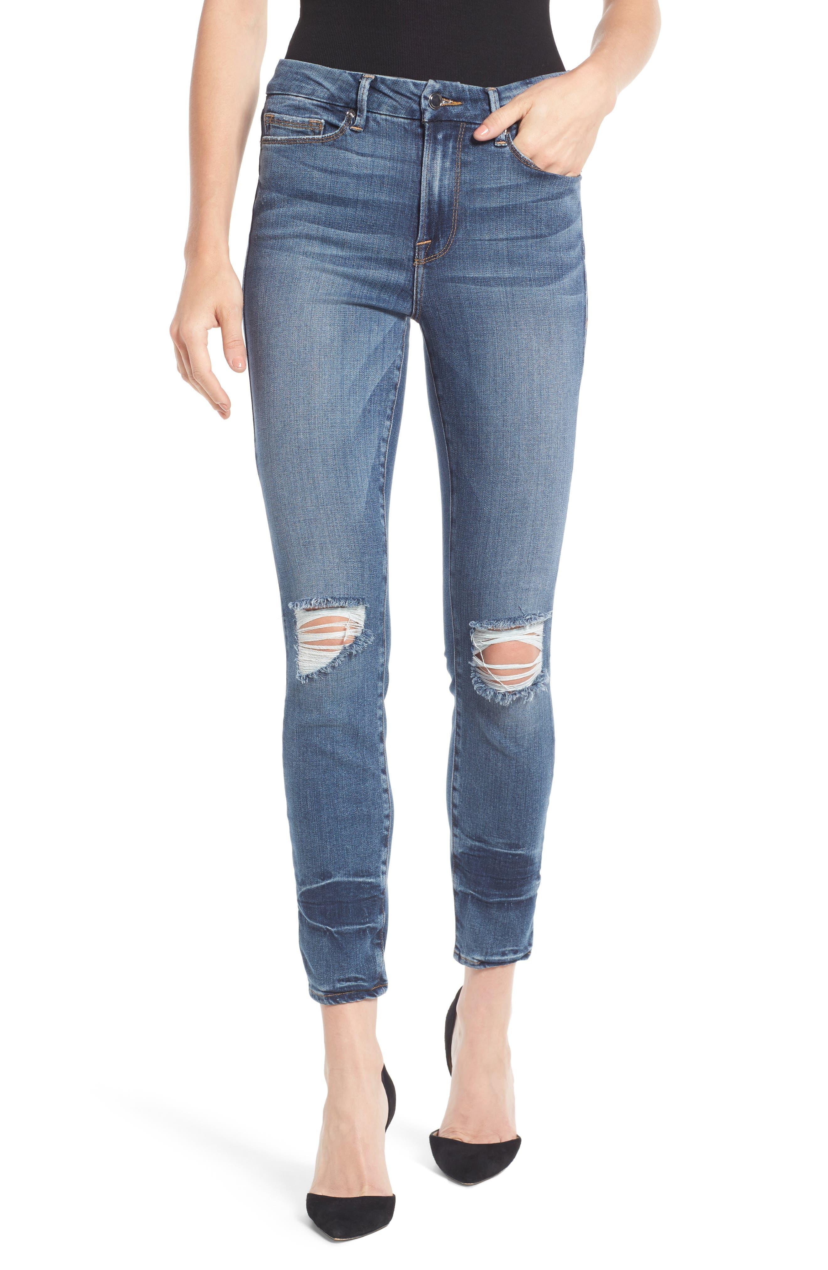 Main Image - Good American Good Legs High Waist Ankle Skinny Jeans (Blue 084) (Regular & Plus Size)