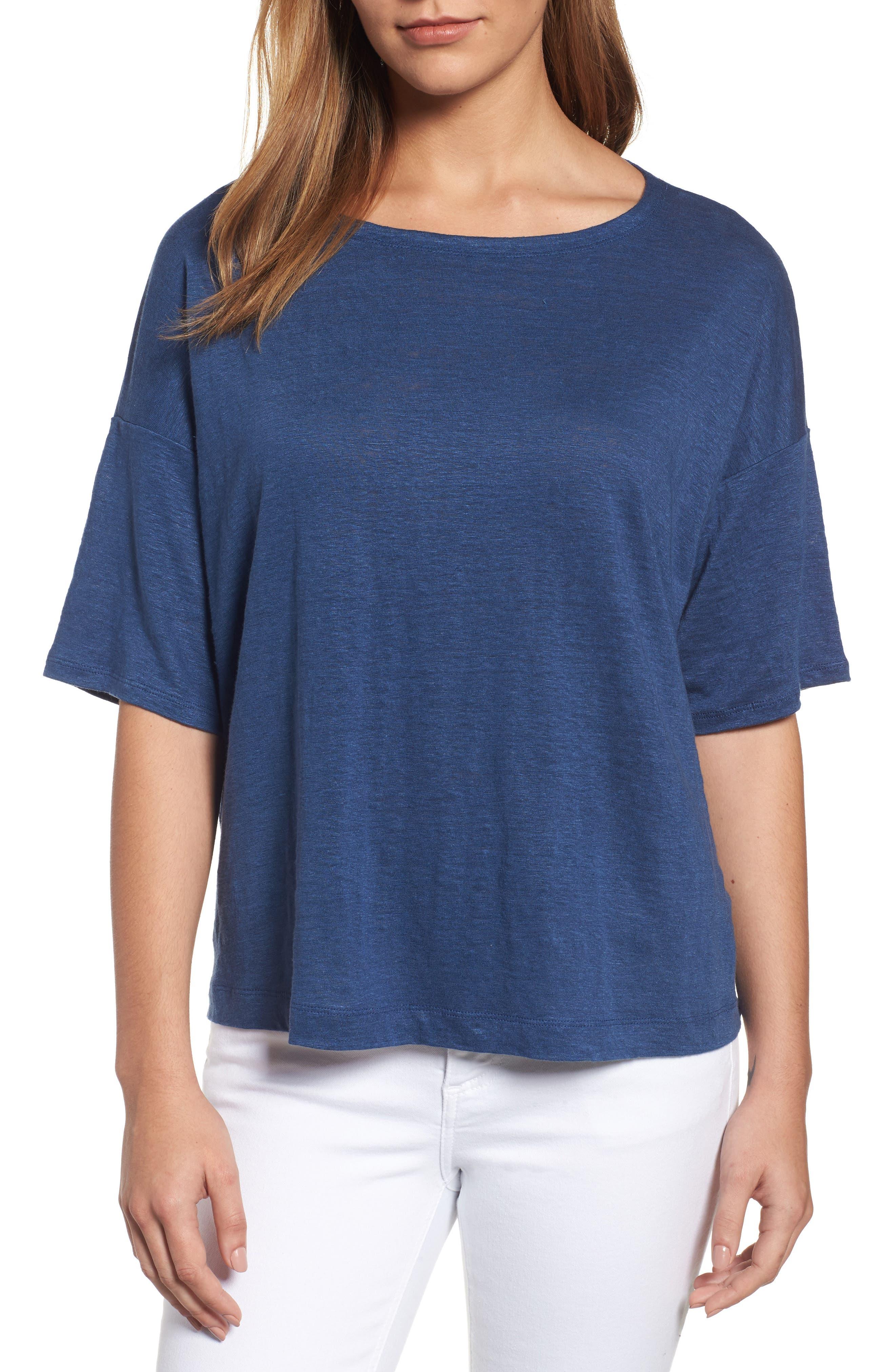 Main Image - Eileen Fisher Organic Linen Jersey Boxy Top