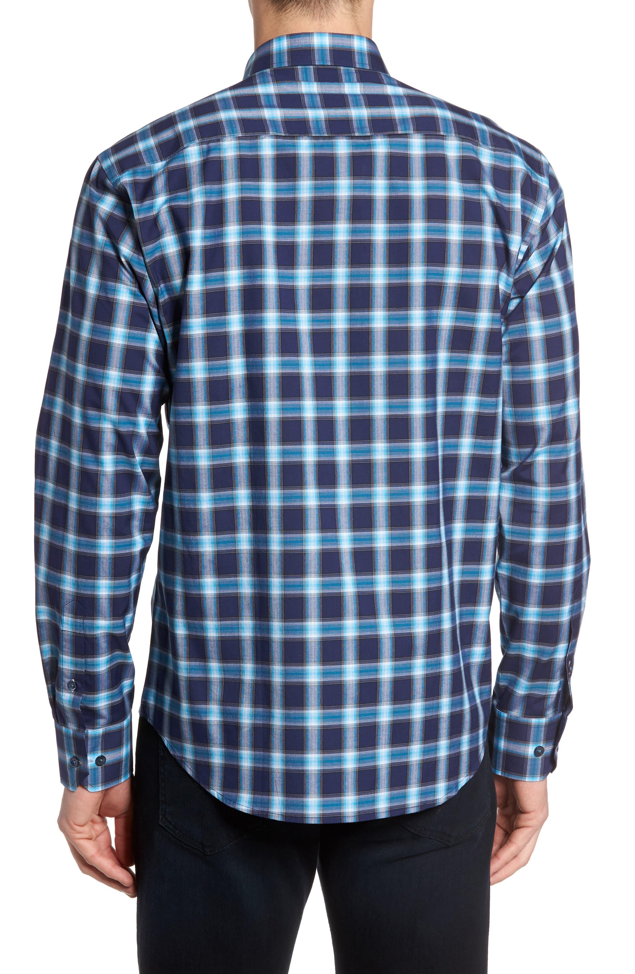 Alternate Image 2  - Bugatchi Shaped Fit Plaid Sport Shirt