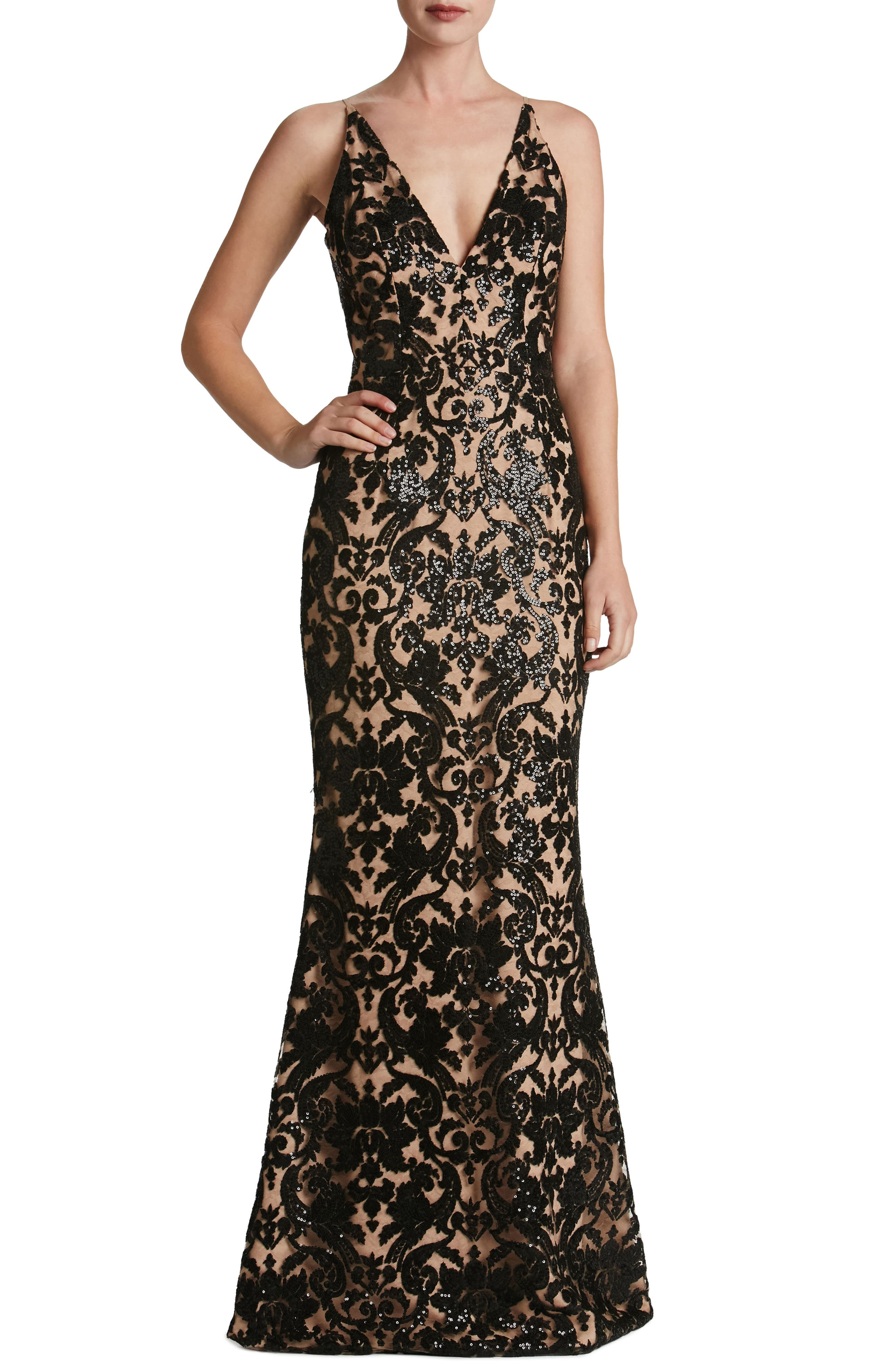 Karen Mermaid Gown,                         Main,                         color, Black/ Nude Lace