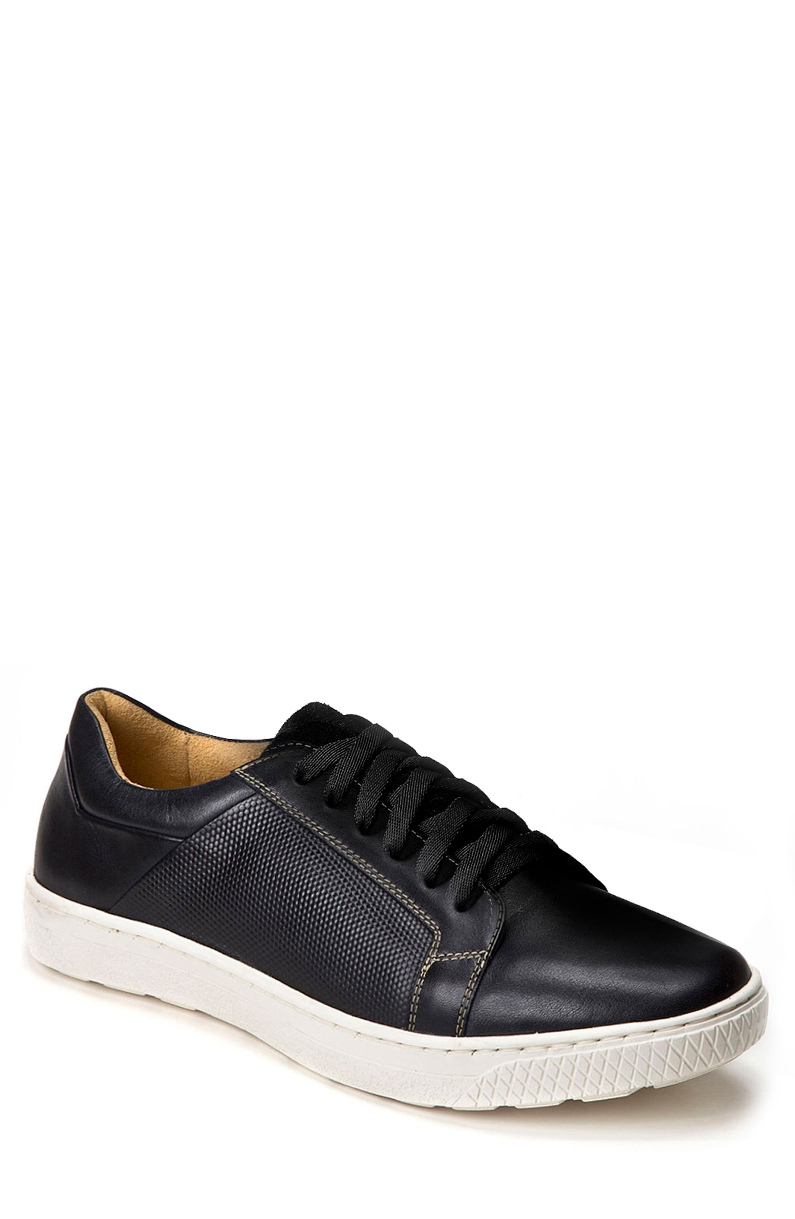 Nico Textured Sneaker,                         Main,                         color, Black Leather