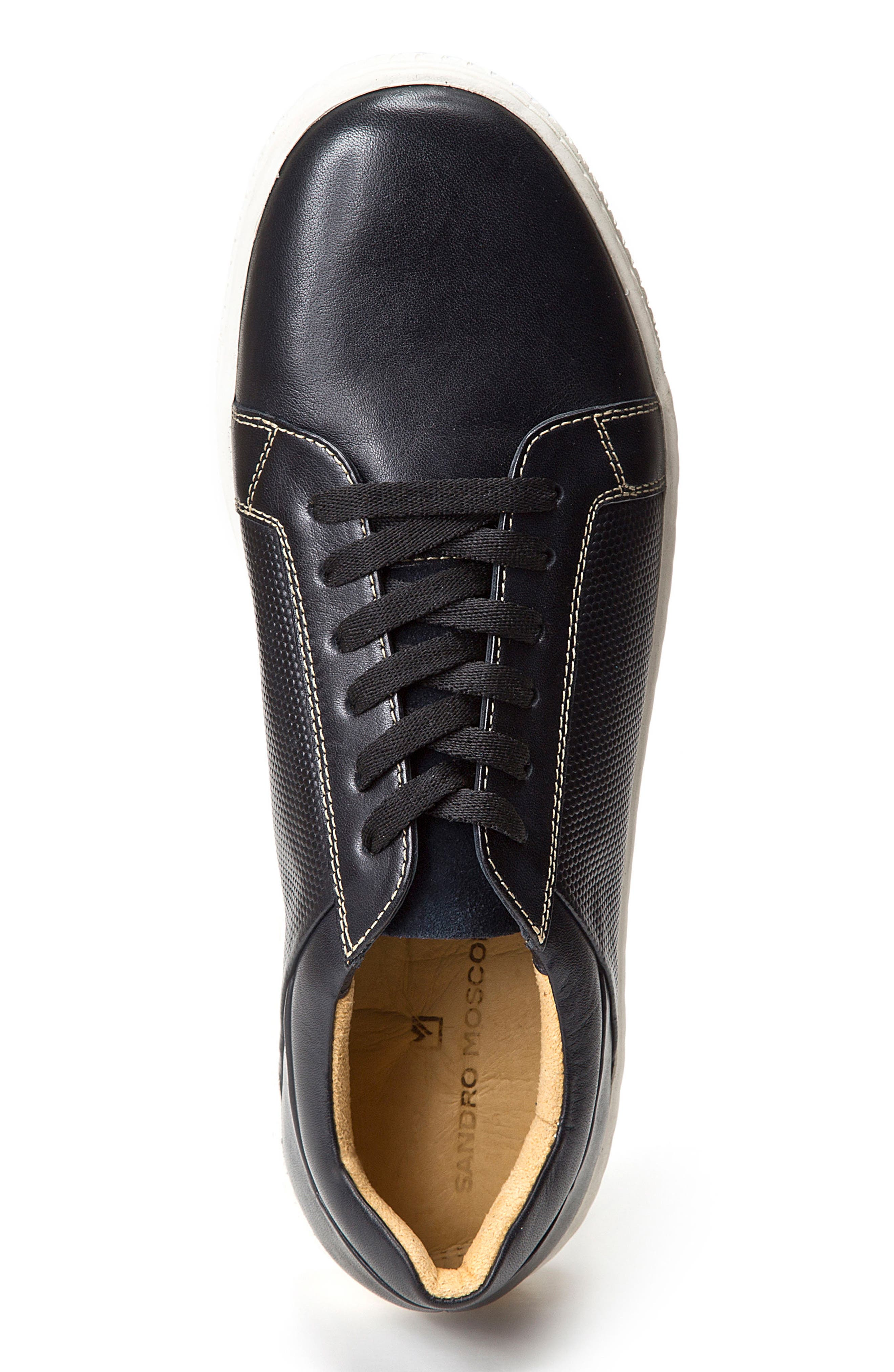 Nico Textured Sneaker,                             Alternate thumbnail 3, color,                             Black Leather