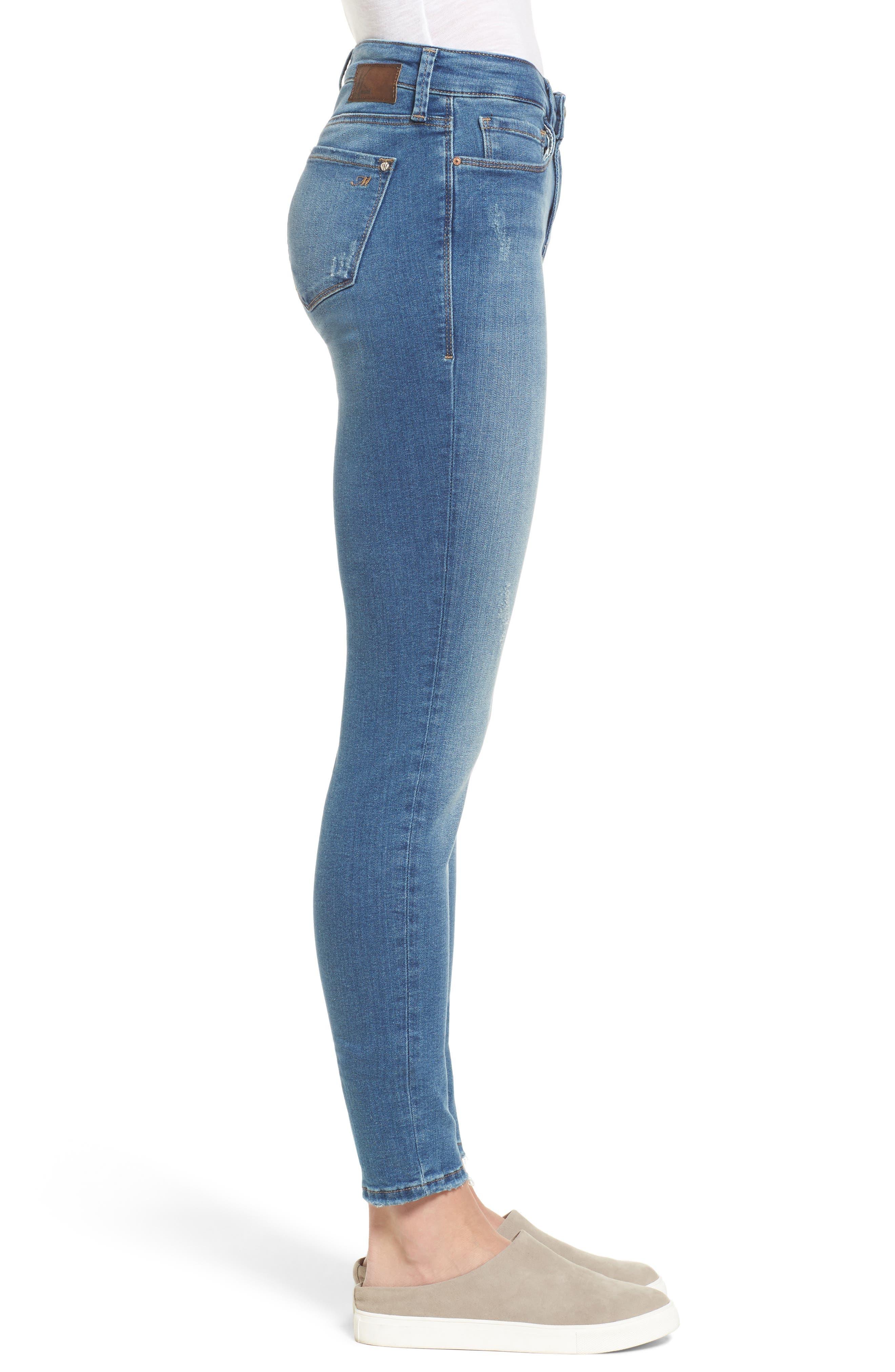 Alternate Image 3  - Mavi Jeans Adriana Stretch Skinny Jeans (Mid Destroyed Tribecca)