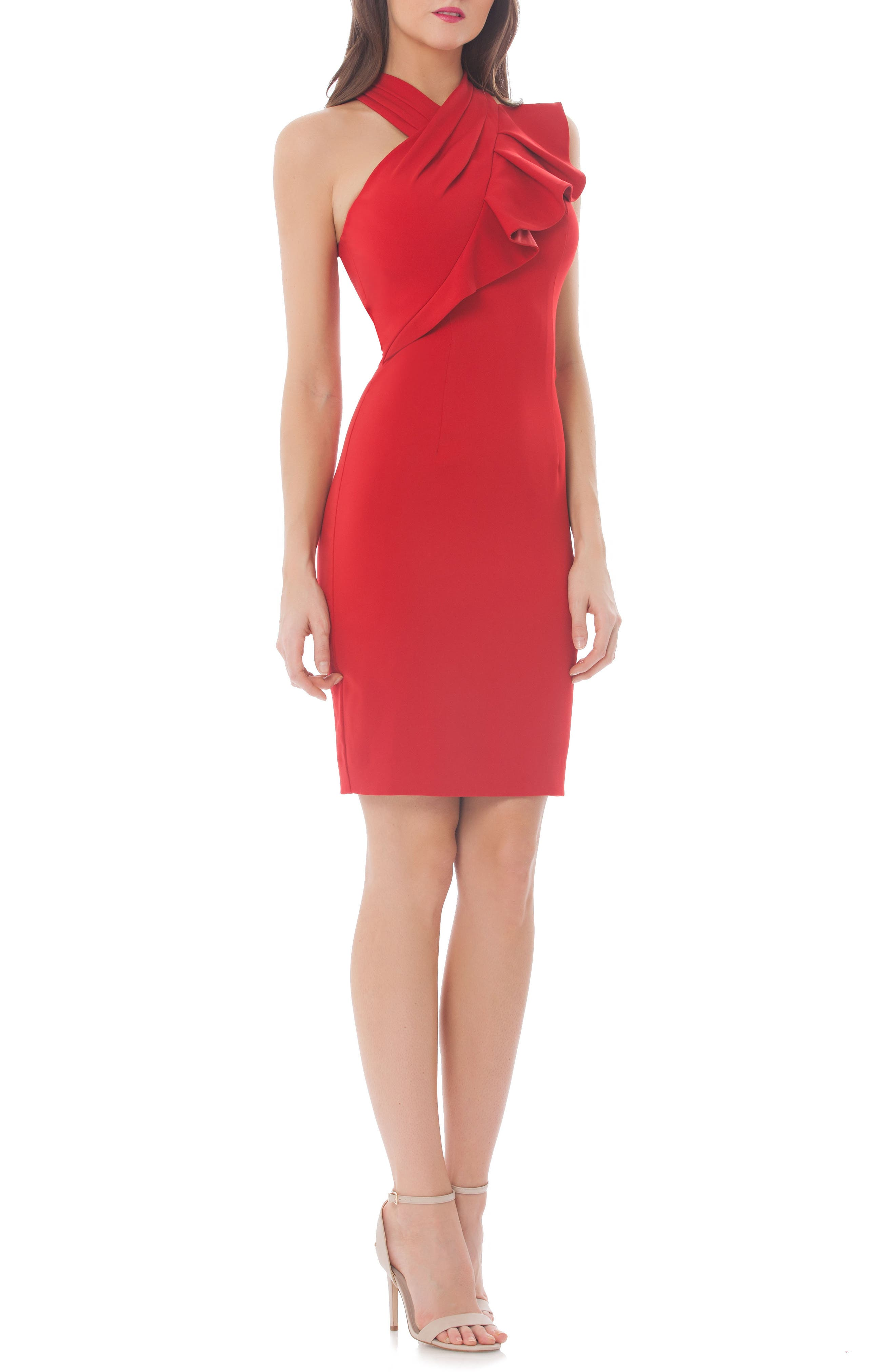 Stretch Sheath Dress,                             Main thumbnail 1, color,                             Flame Red
