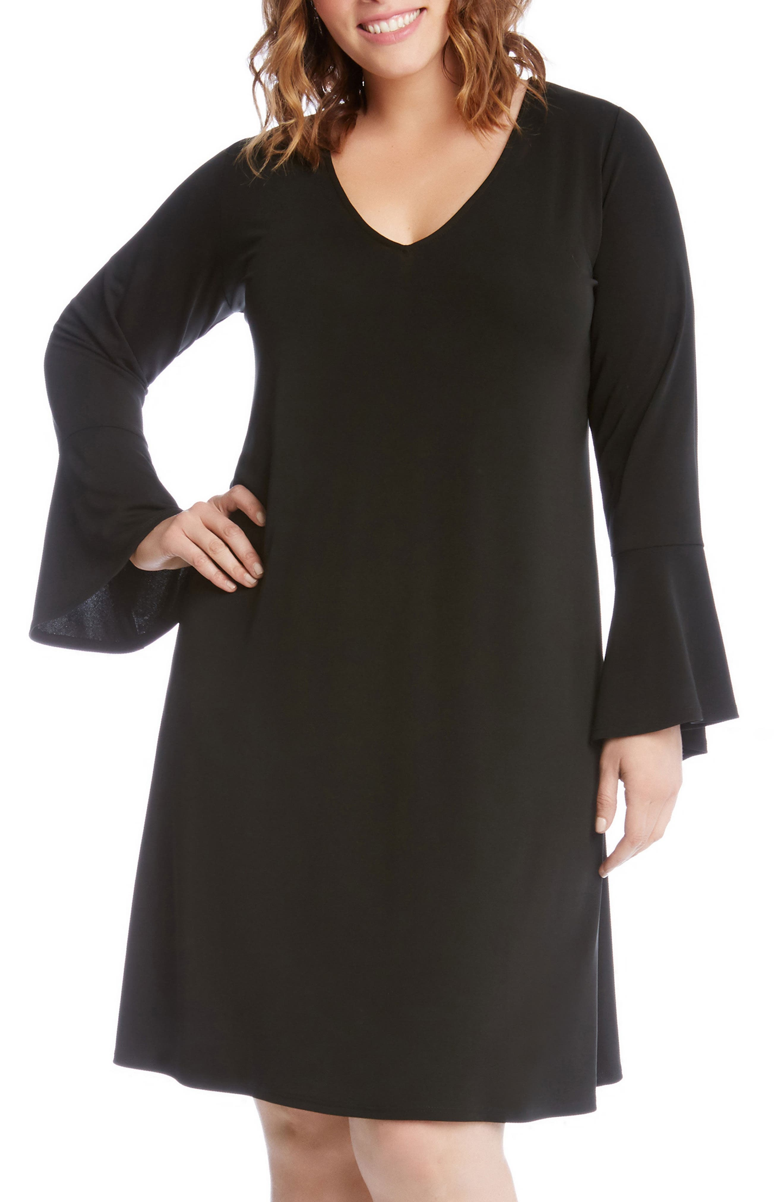 Karen Kane Taylor Bell Sleeve A-Line Dress (Plus Size)