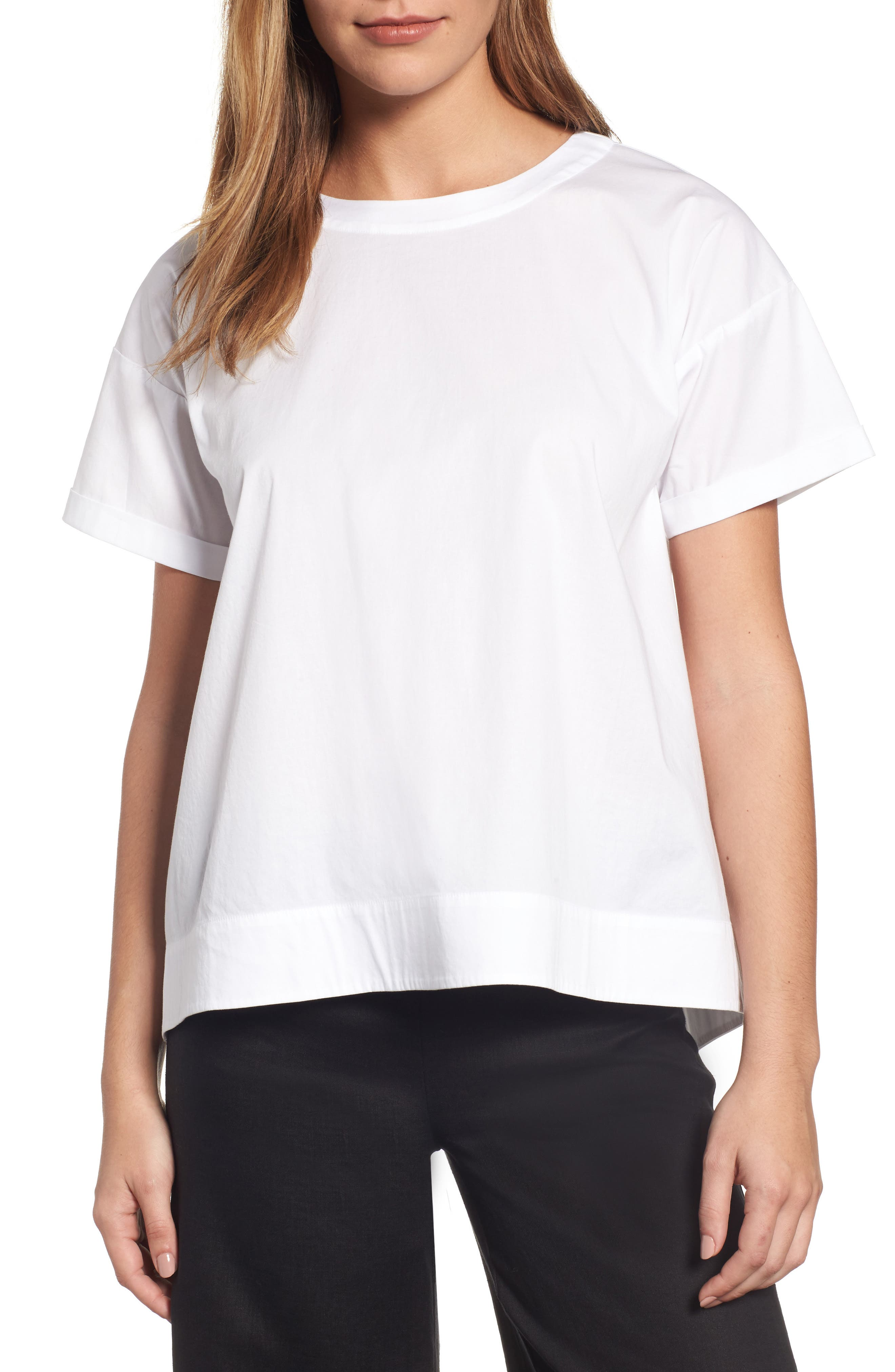 Eileen Fisher Stretch Organic Cotton Top (Regular & Petite)