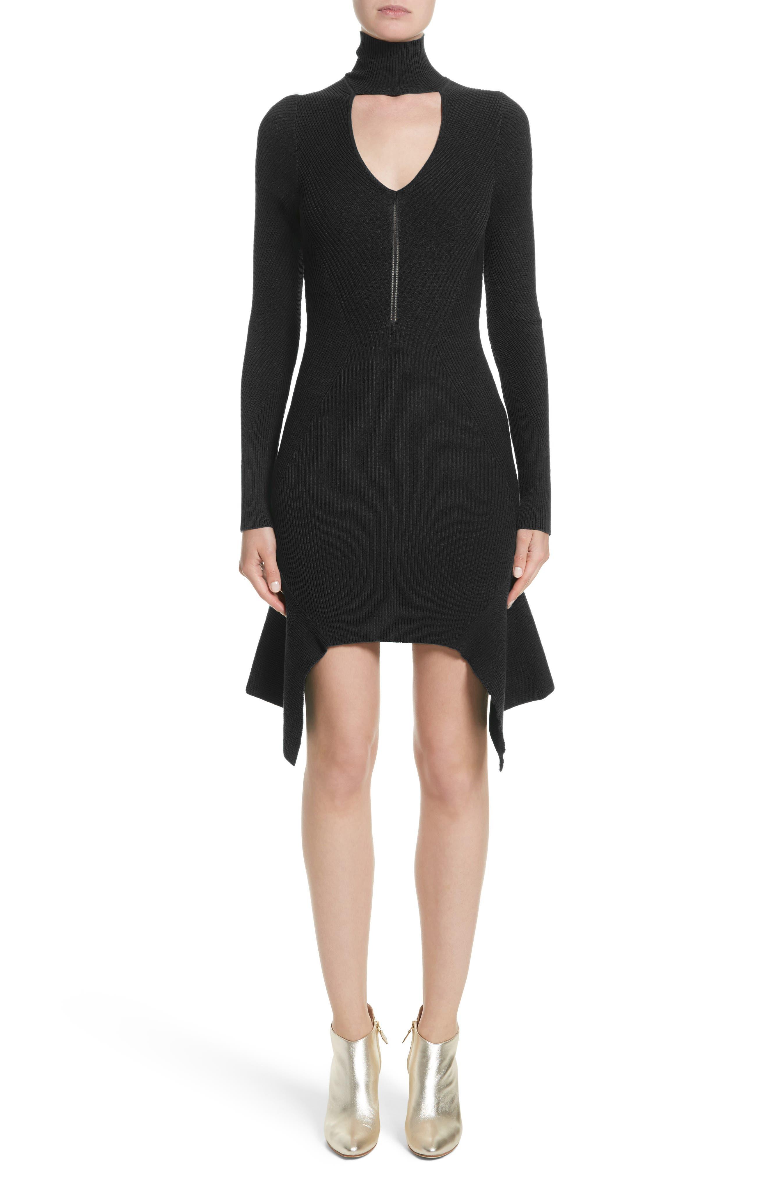 Versace Collection Knit Keyhole Turtleneck Dress
