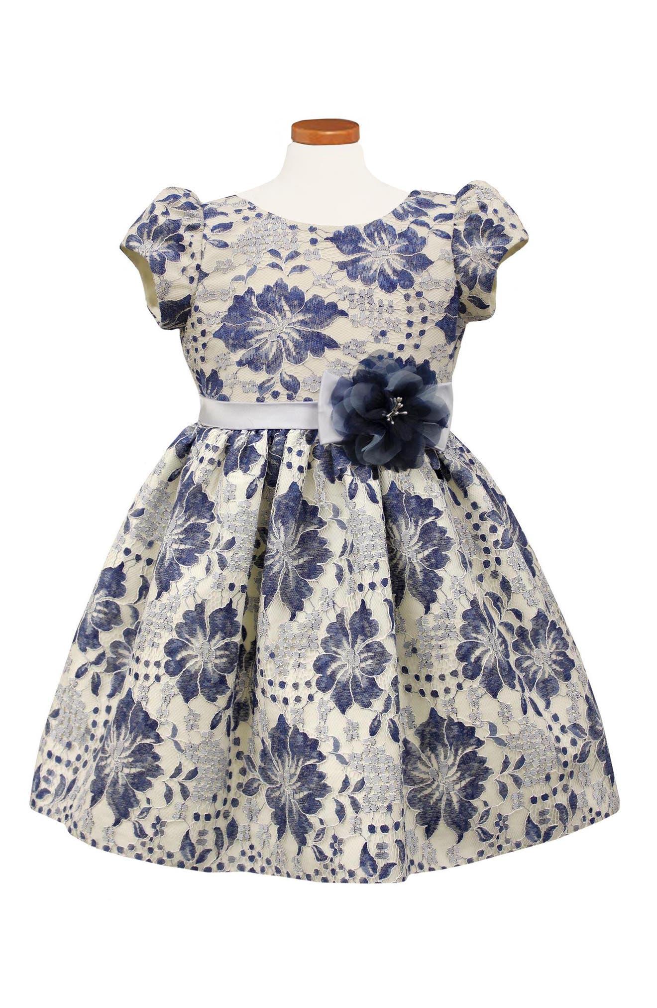 Floral Lace Dress,                         Main,                         color, Blue