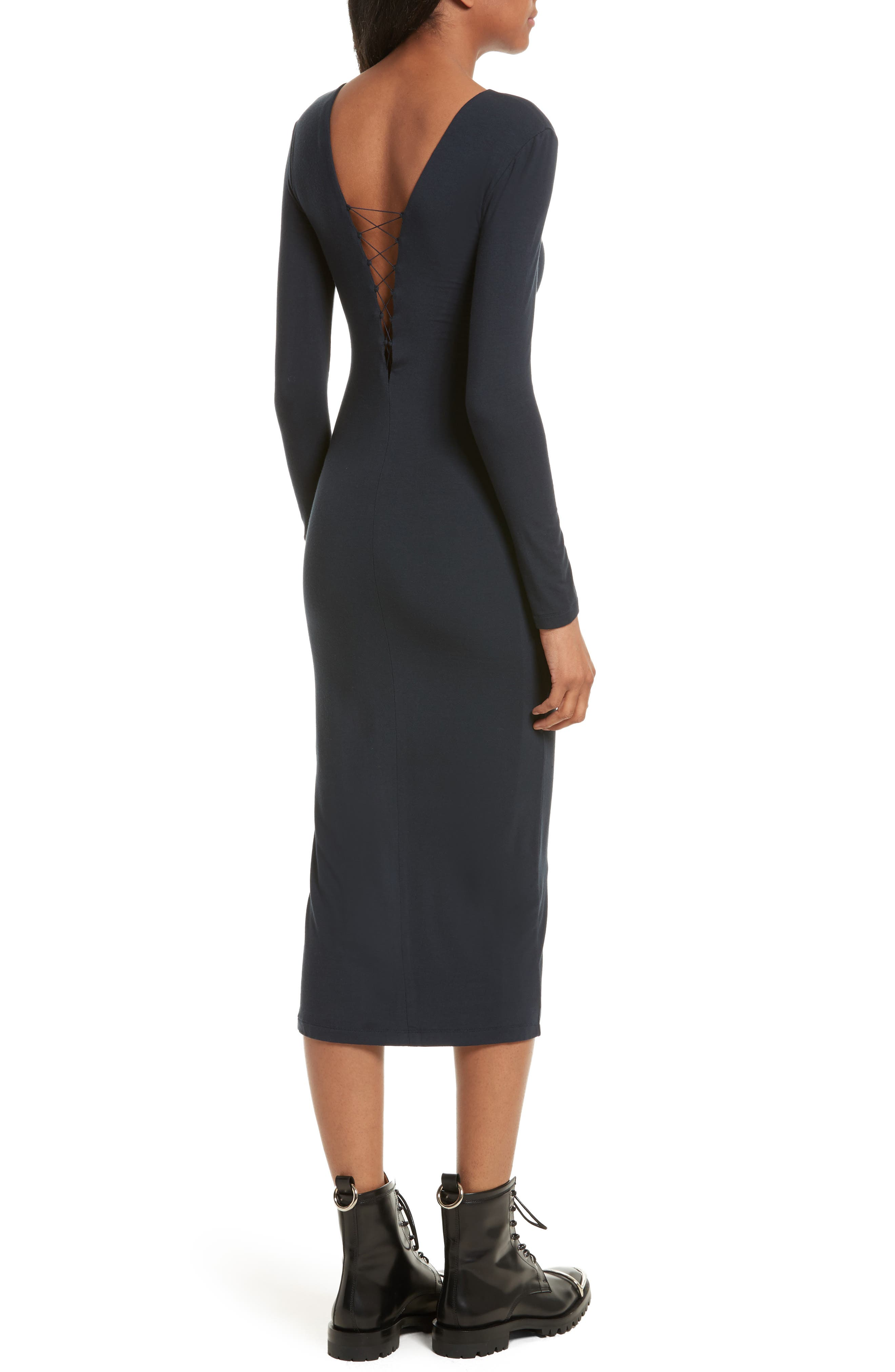 Alternate Image 2  - T by Alexander Wang Lace-Up Midi Dress