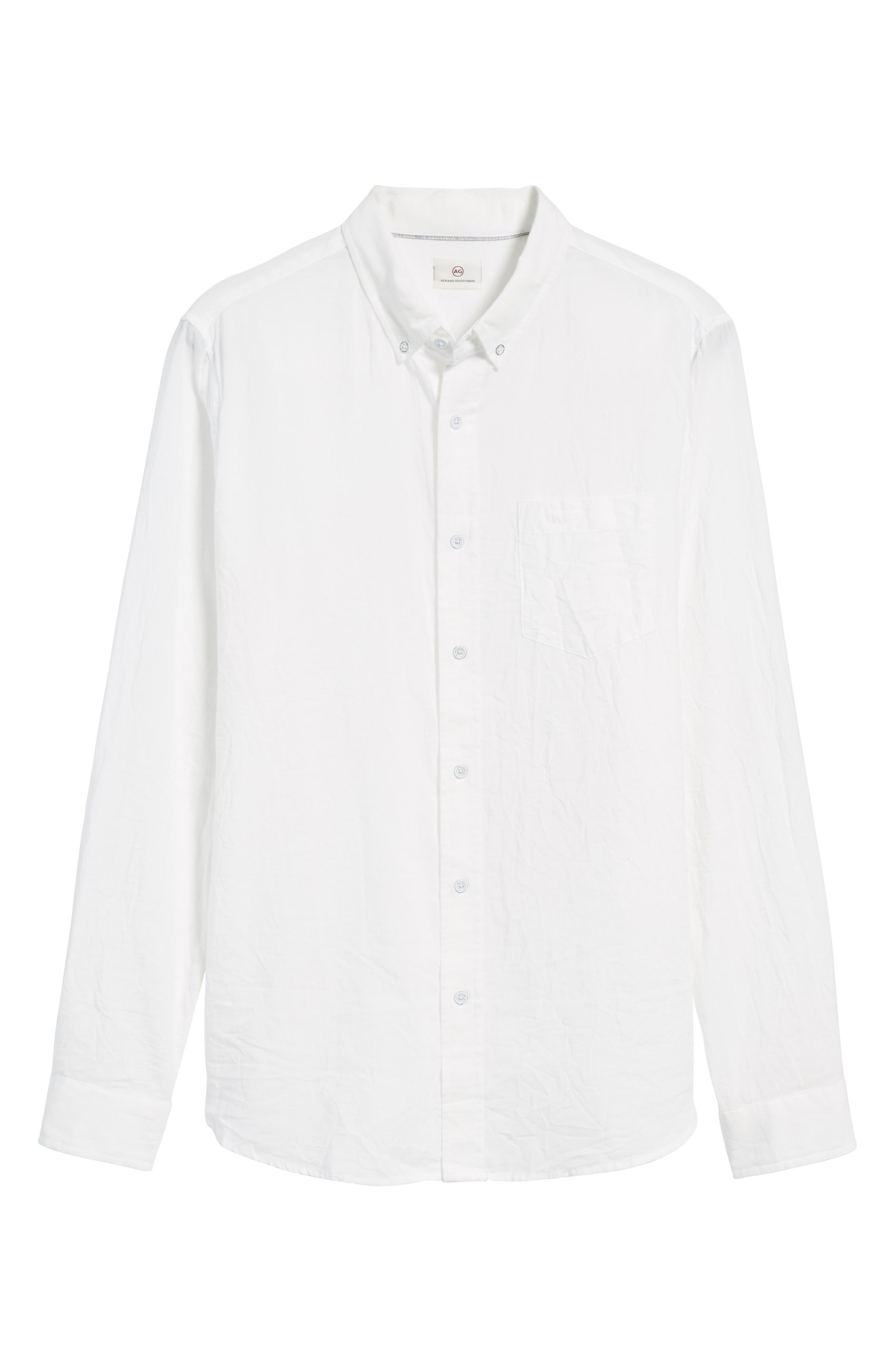 Grady Slim Fit Organic Cotton Sport Shirt,                             Alternate thumbnail 5, color,                             Crinkled True White