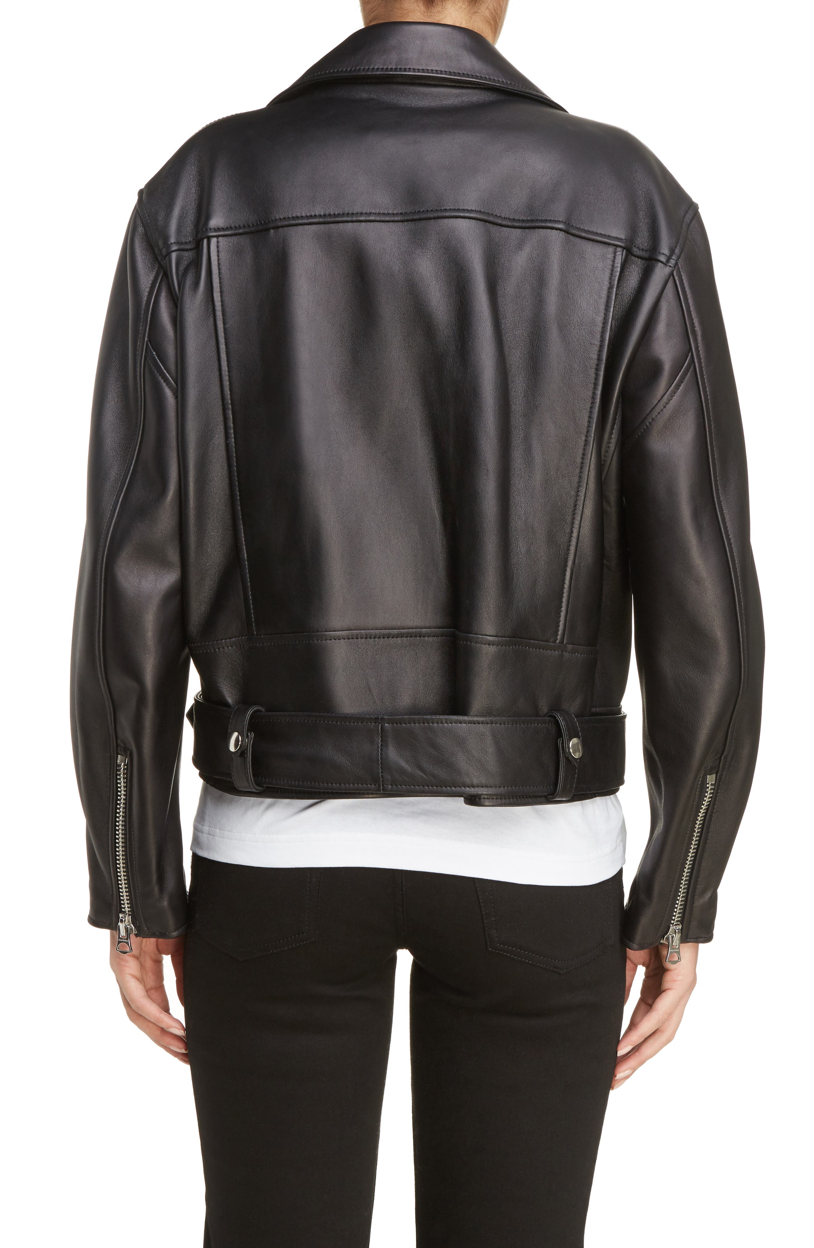 Merlyn Leather Moto Jacket,                             Alternate thumbnail 2, color,                             Black