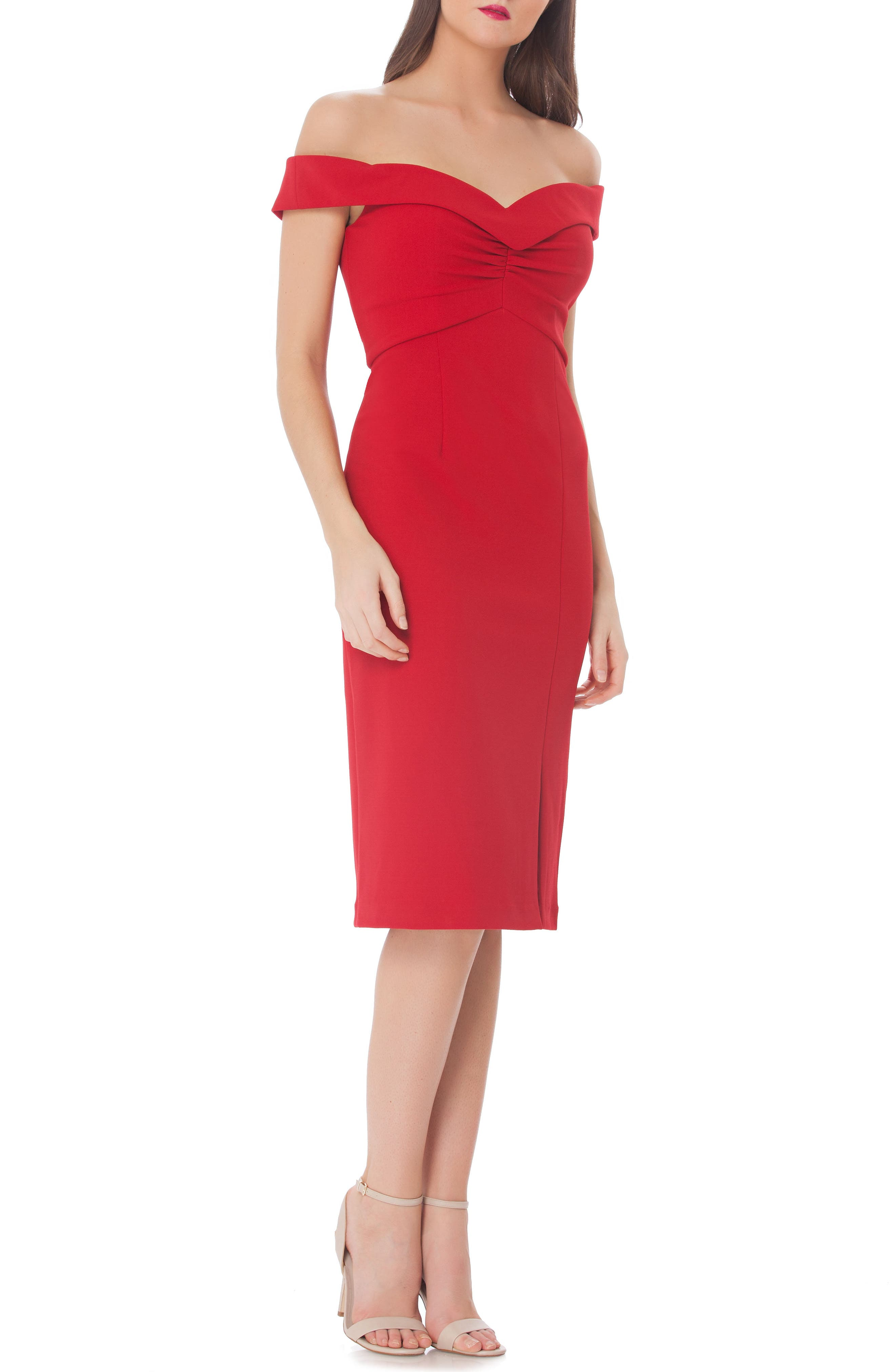 Ruched Off the Shoulder Sheath Dress,                             Main thumbnail 1, color,                             Red