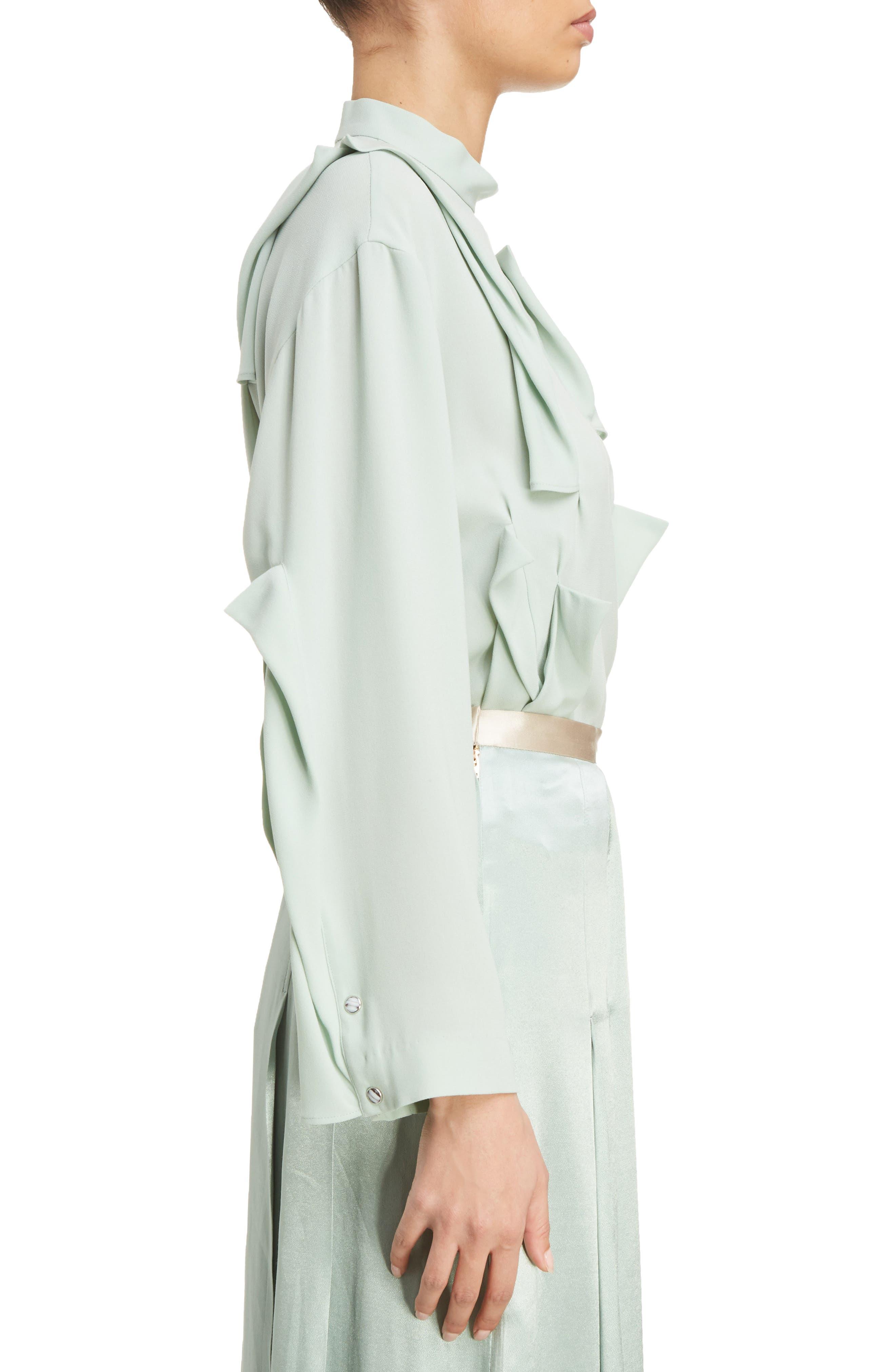 Georgette Satin Shirt,                             Alternate thumbnail 3, color,                             Light Green
