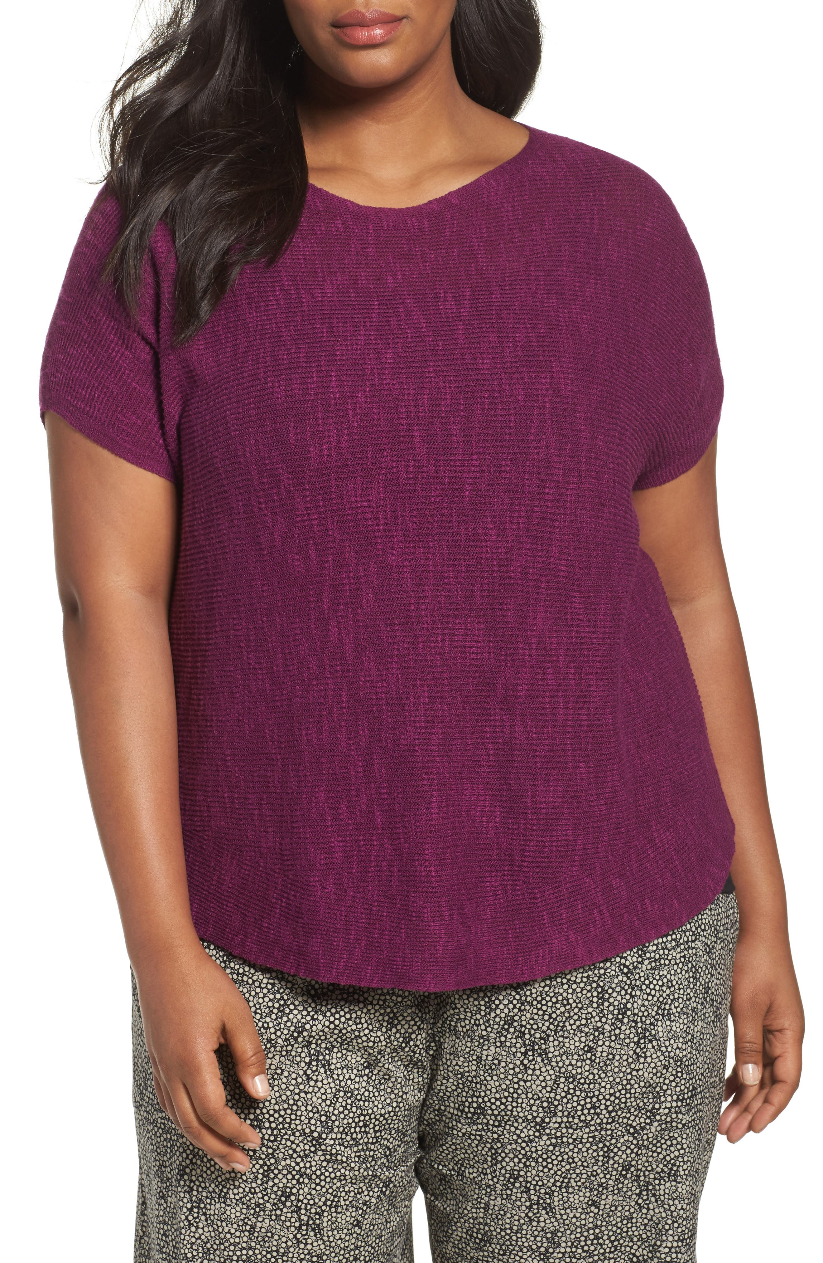 Alternate Image 1 Selected - Eileen Fisher Organic Linen & Cotton Rib Sweater (Plus Size)