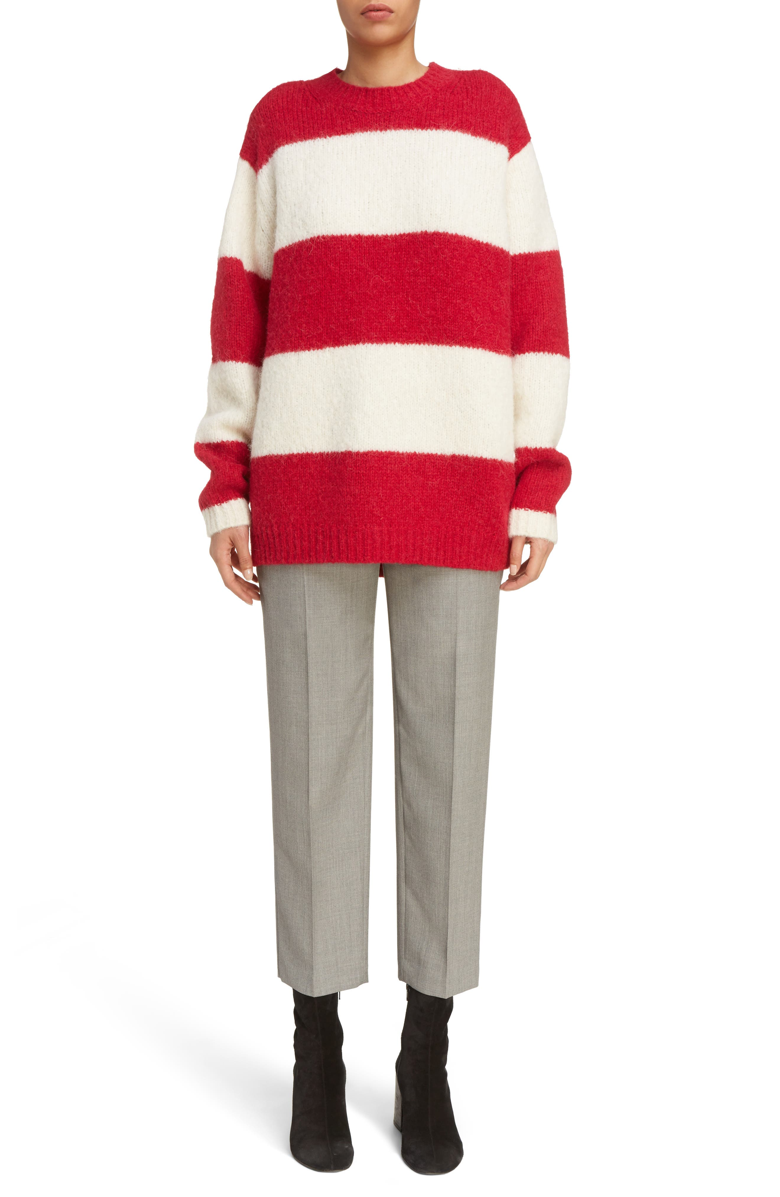 Albah Oversized Stripe Sweater,                             Main thumbnail 1, color,                             Red/ White