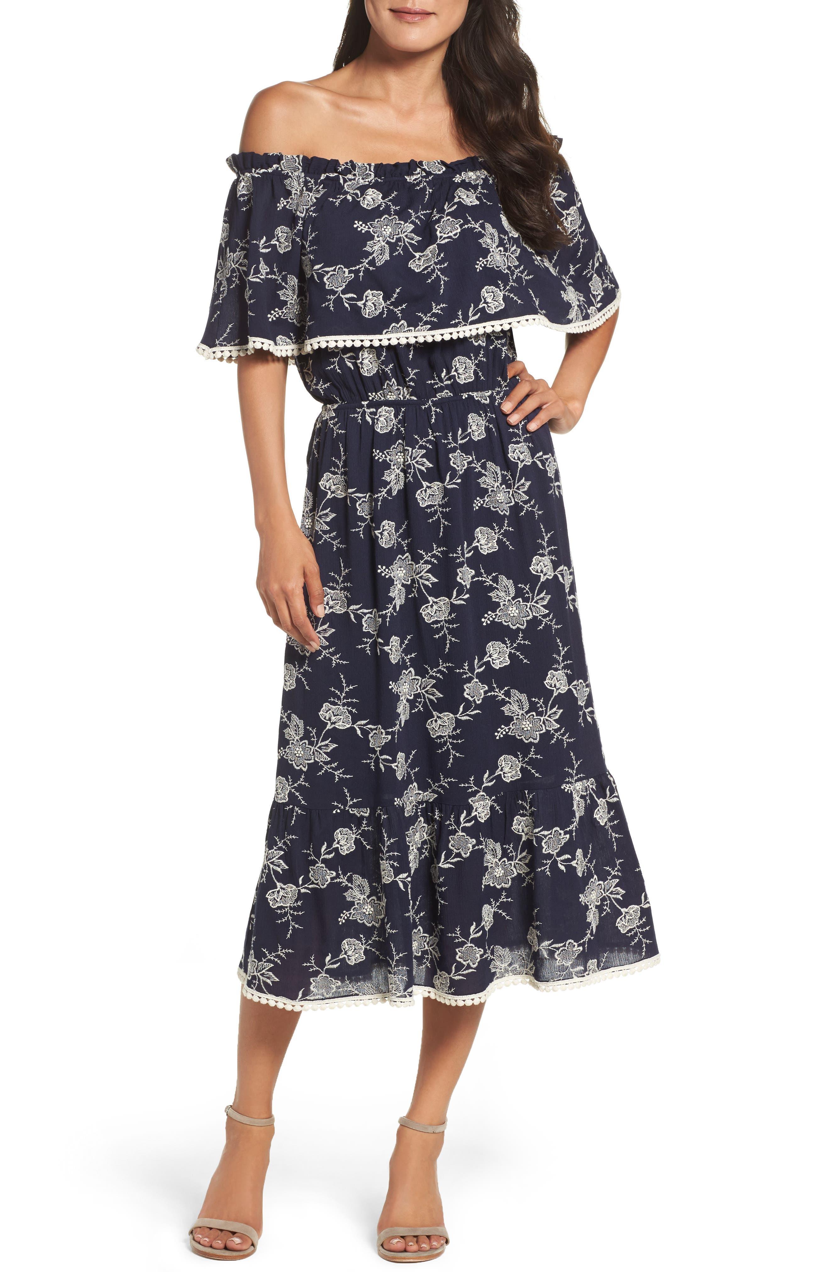 FRAICHE BY J Off the Shoulder Midi Dress