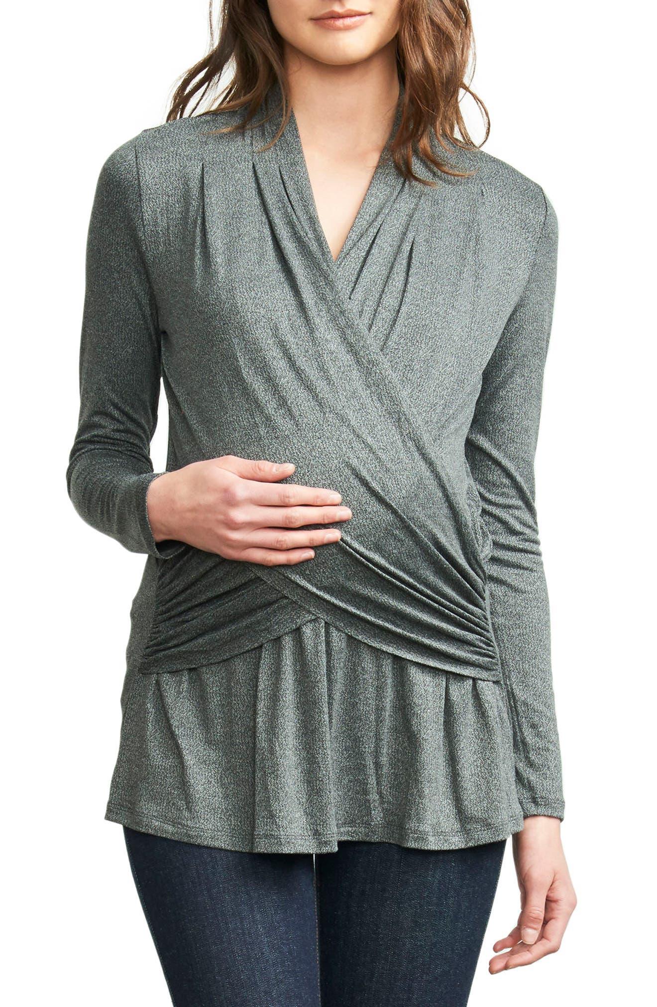 Drape Maternity/Nursing Top,                         Main,                         color, Stone Grey