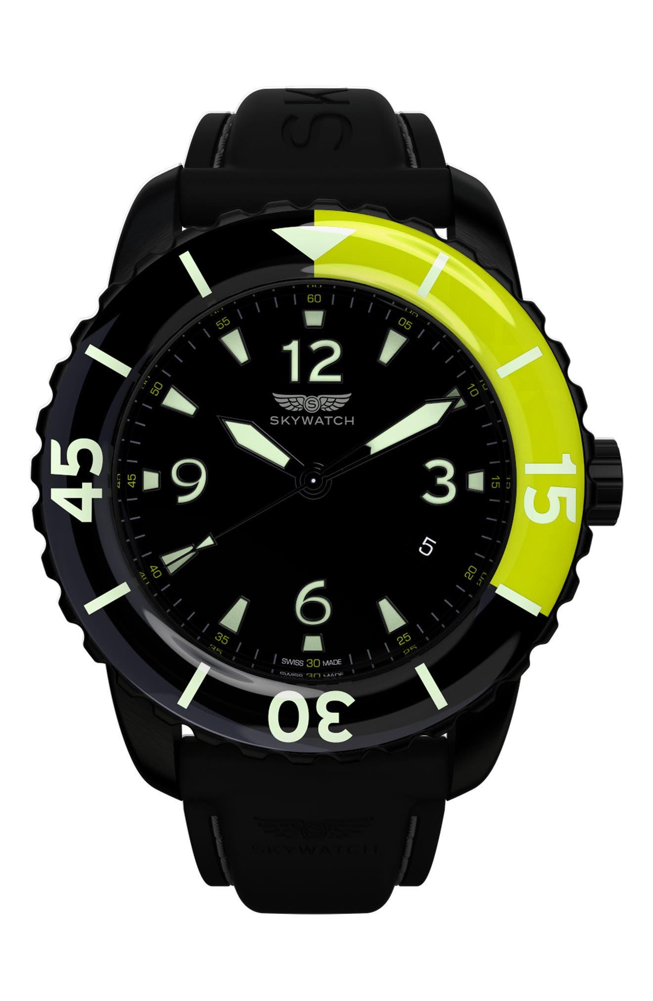 Classic Rubber Strap Watch, 44mm,                             Main thumbnail 1, color,                             Black/ Black