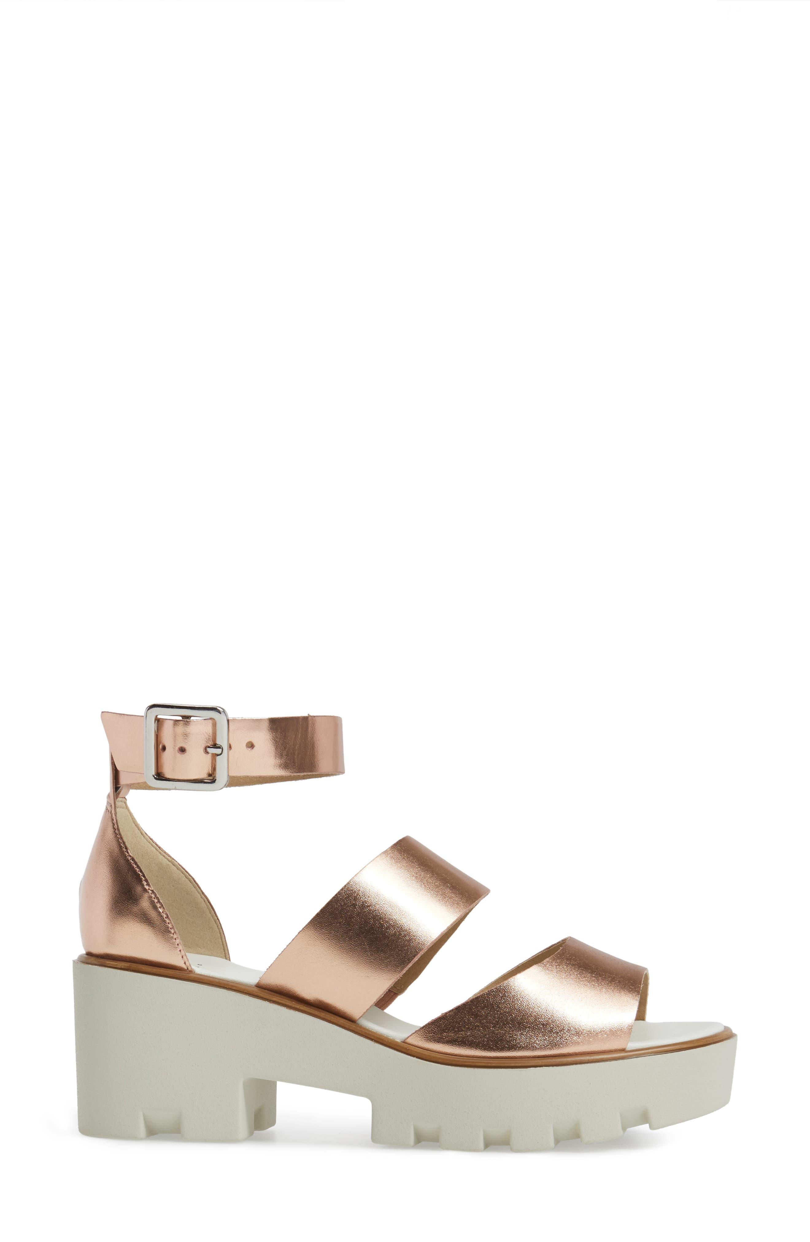 Rowan Platform Sandal,                             Alternate thumbnail 3, color,                             Rose Gold Leather