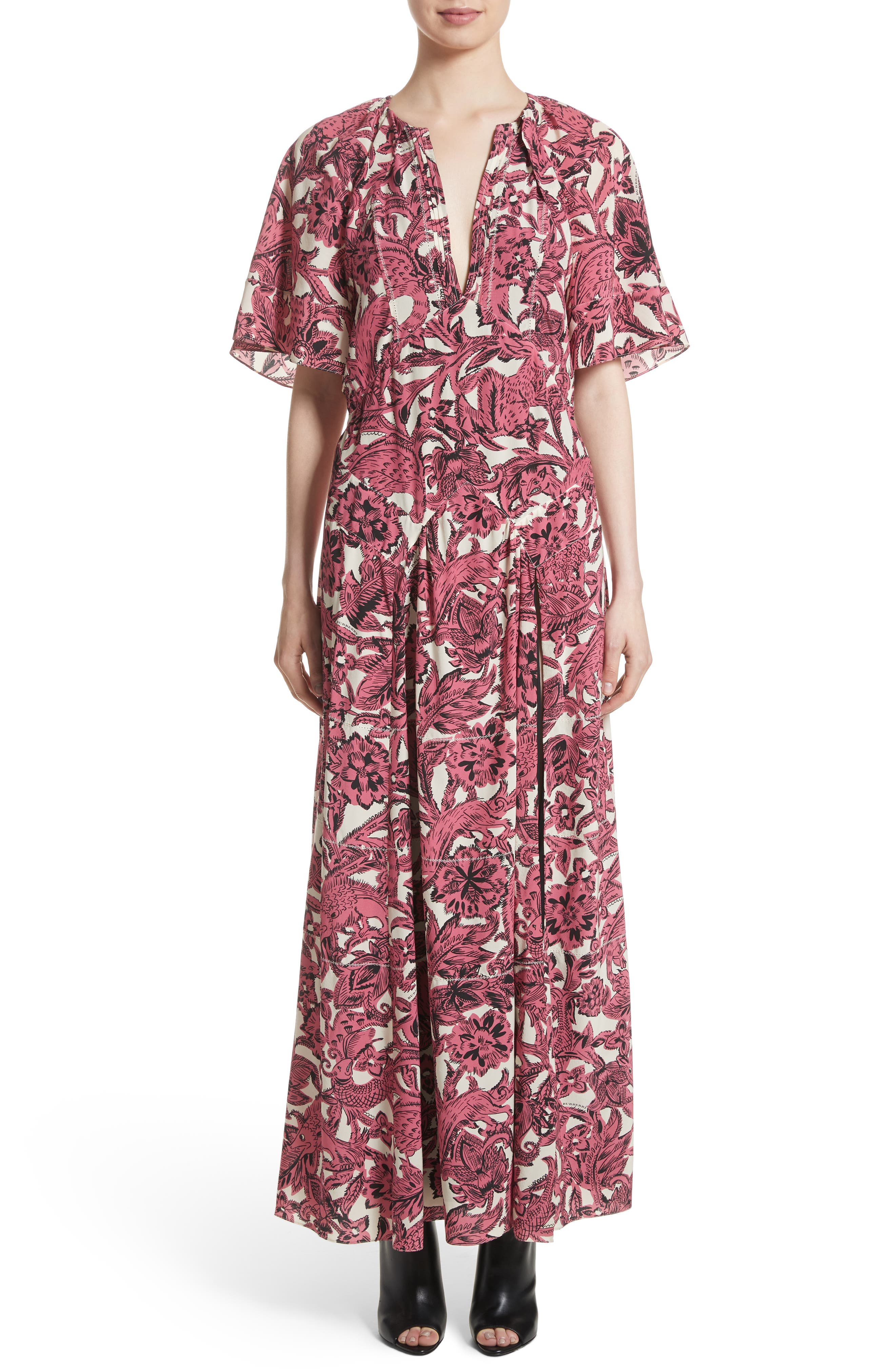 Hallie Silk Dress,                         Main,                         color, Pink Azalea