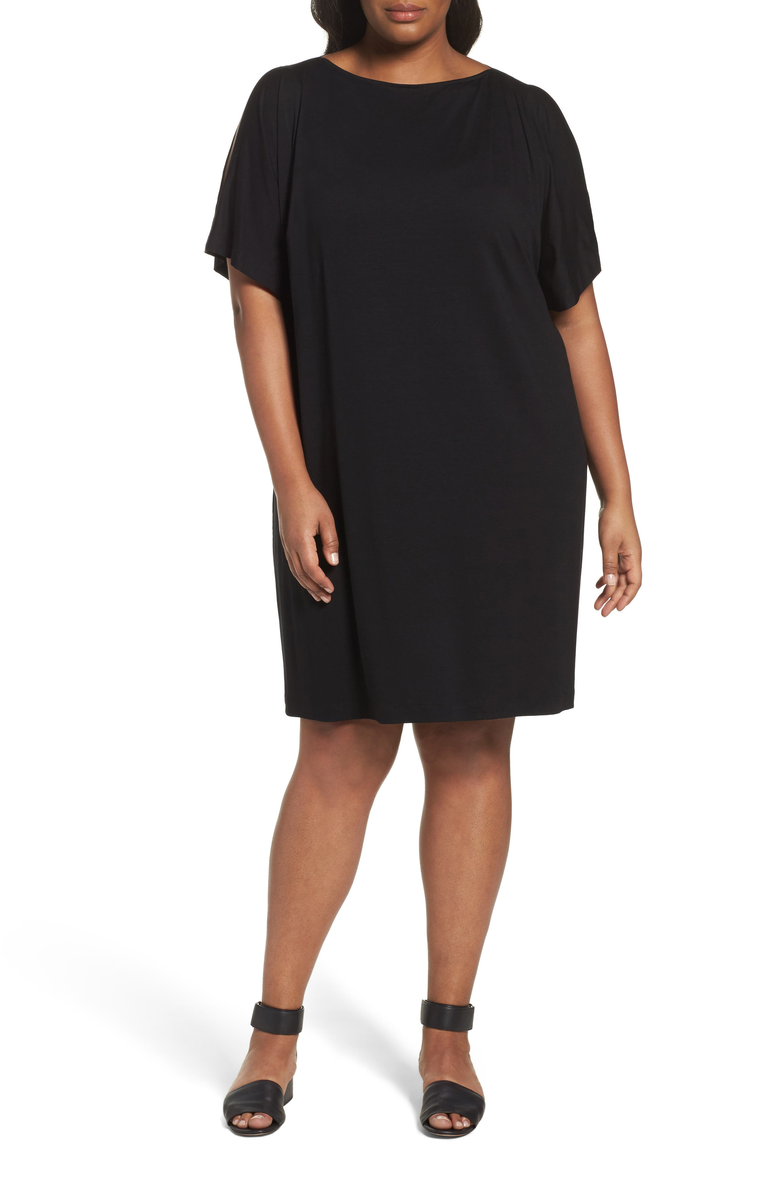 Eileen Fisher Slit Sleeve Kimono Dress (Plus Size)