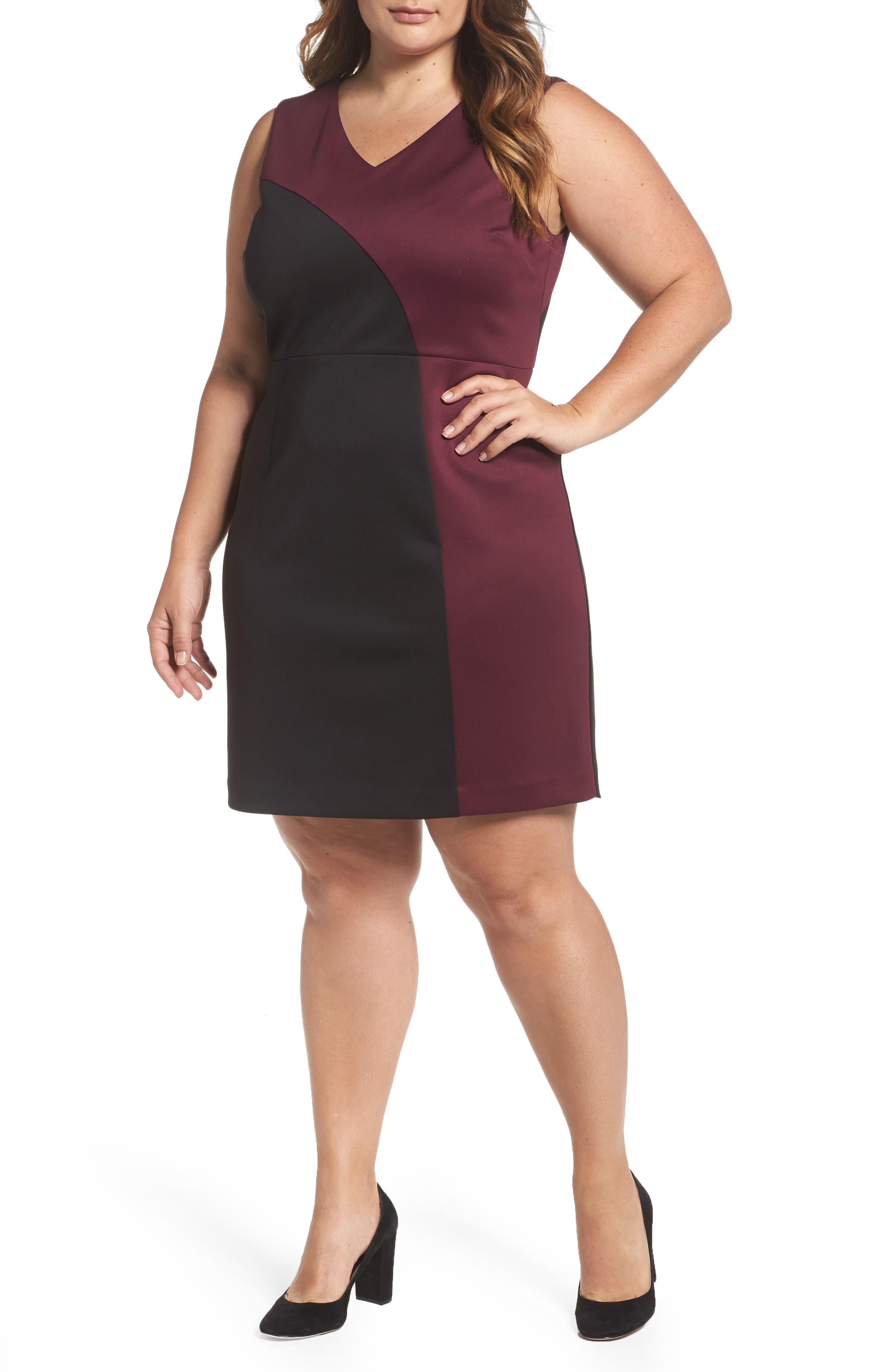 Ellen Tracy Colorblock Scuba Sheath Dress (Plus Size)