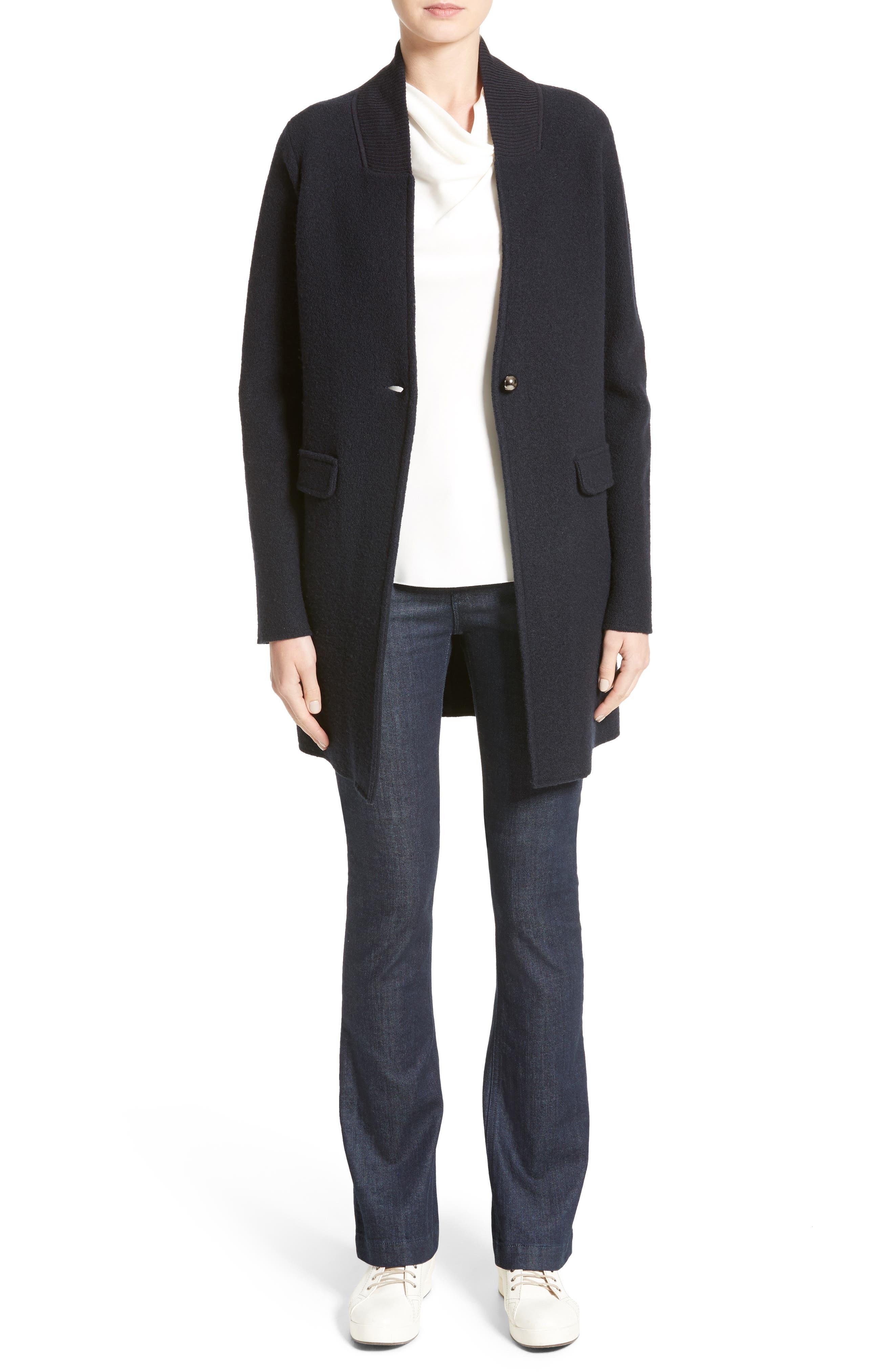 Armani Jeans Single Button Wool Coat,                             Alternate thumbnail 7, color,                             Navy
