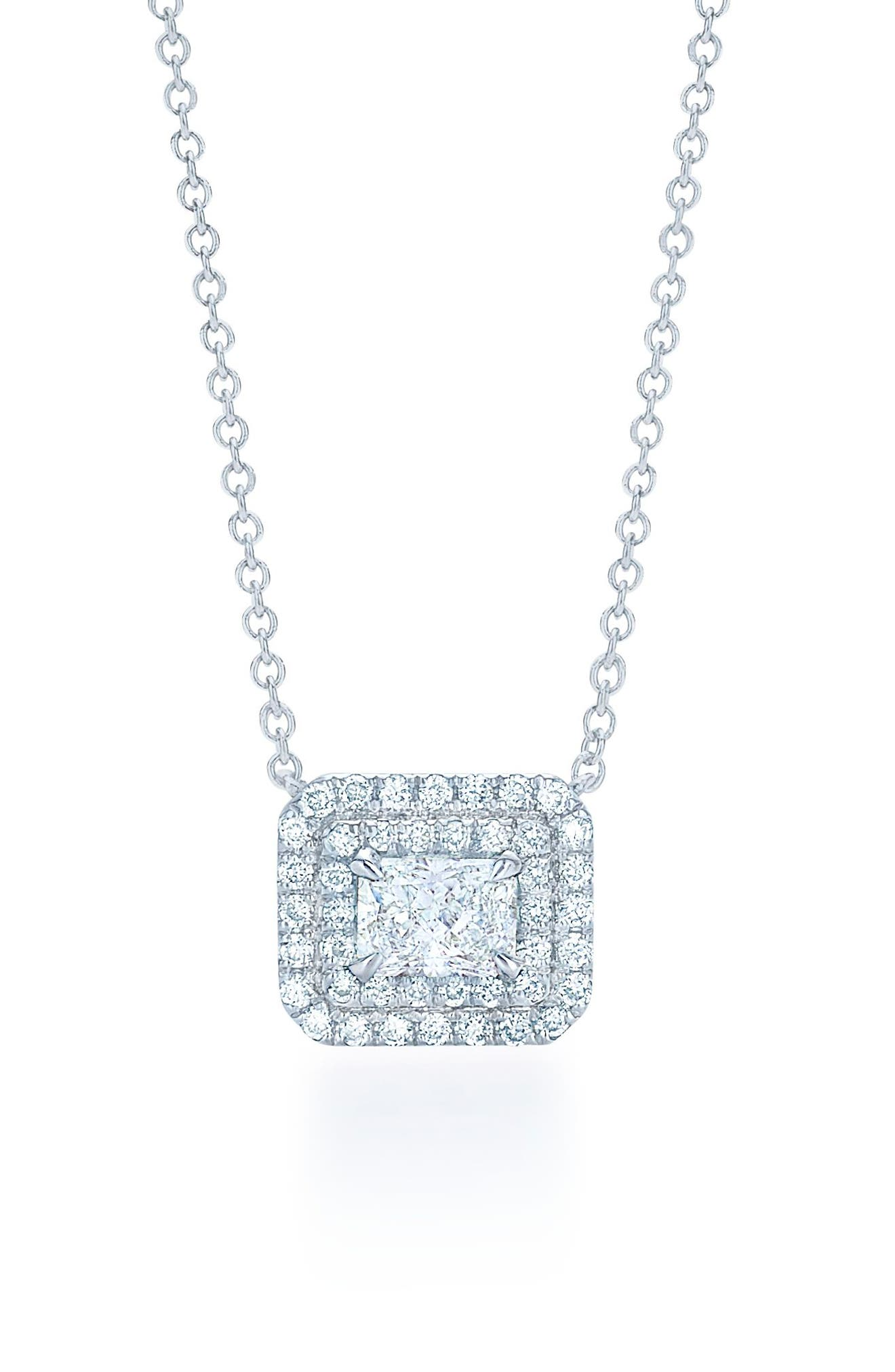 Radiant Cut Diamond Necklace,                             Main thumbnail 1, color,                             White Gold