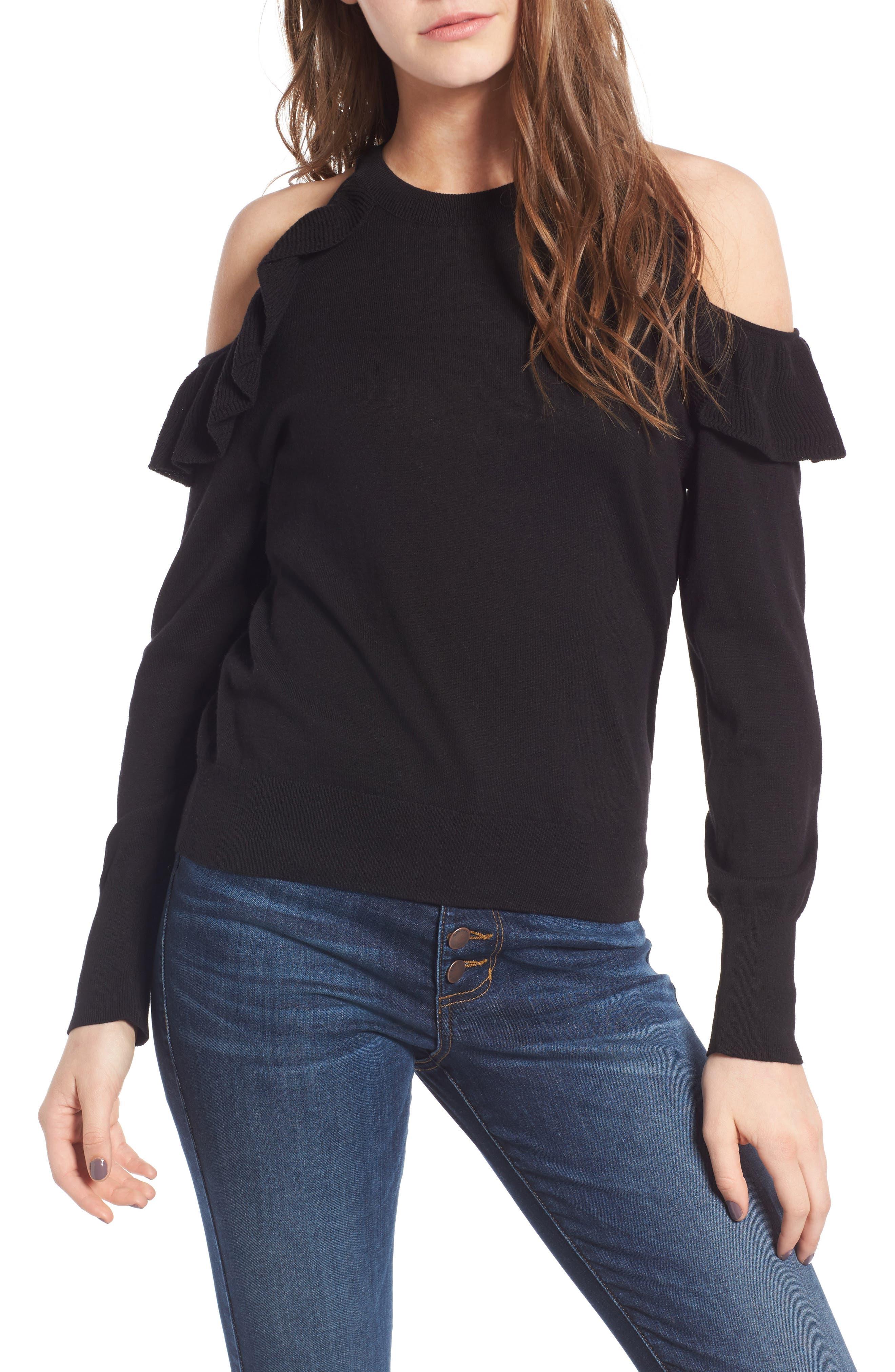 Ruffle Cold Shoulder Pullover,                         Main,                         color, Black