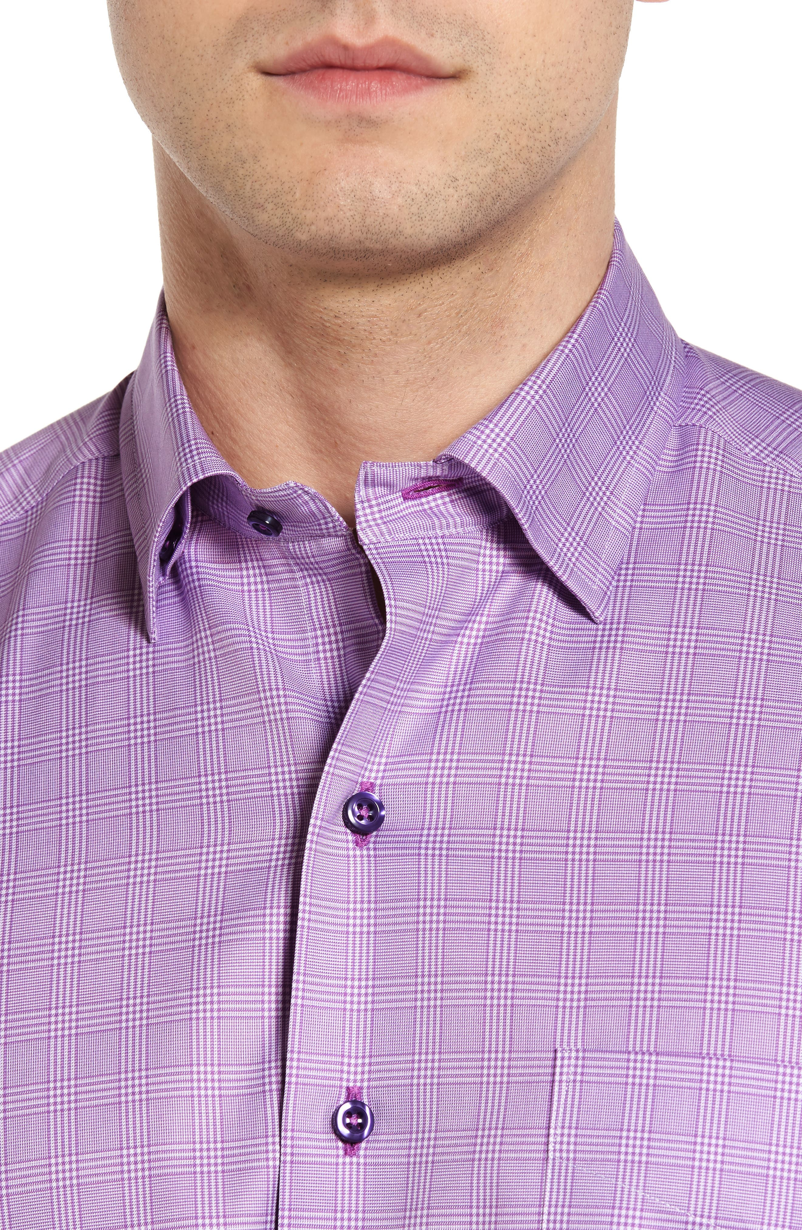 Regular Fit Plaid Sport Shirt,                             Alternate thumbnail 4, color,                             Lilac