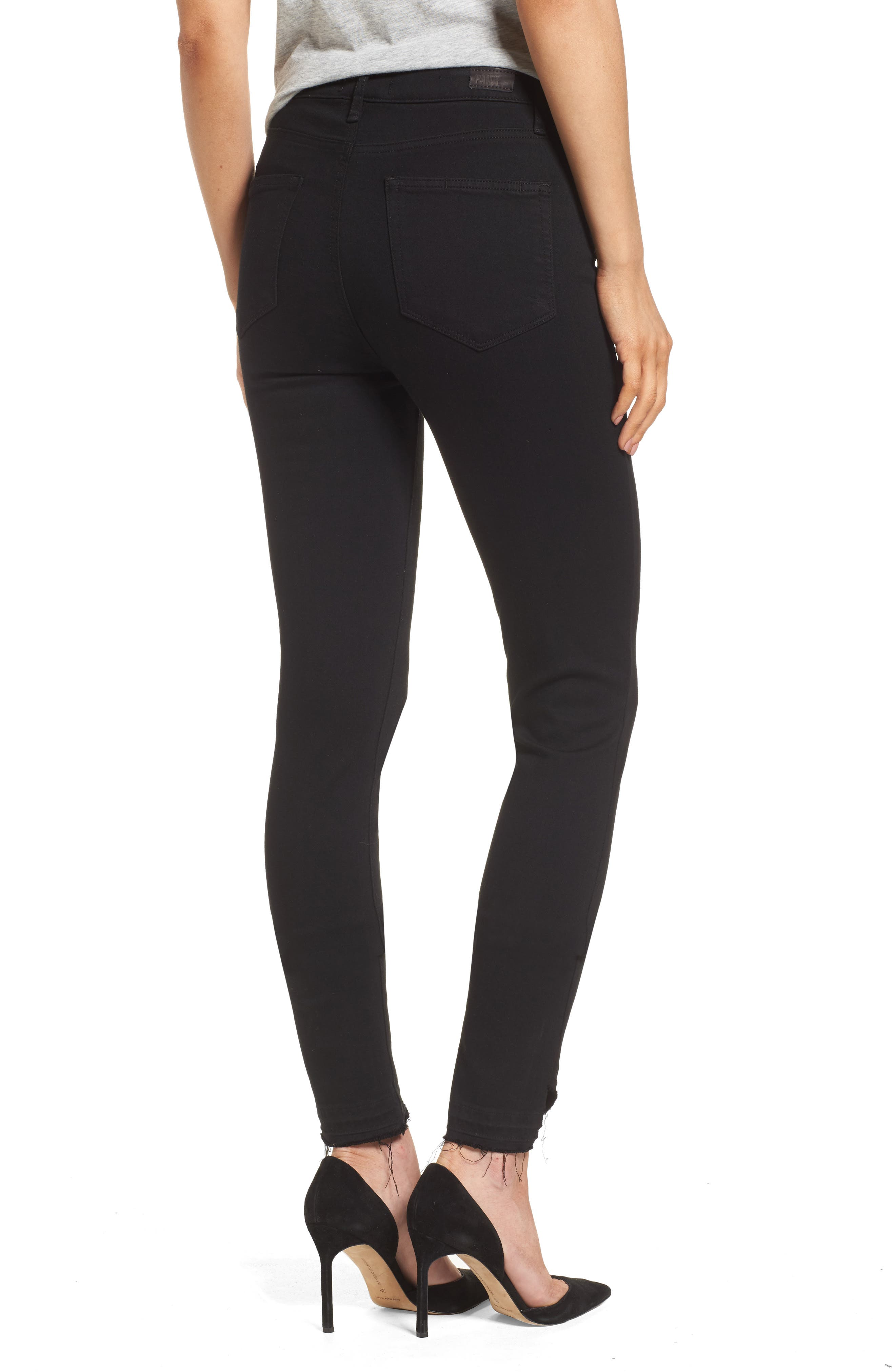Alternate Image 2  - PAIGE Transcend Hoxton High Waist Undone Hem Skinny Jeans (Black Shadow)