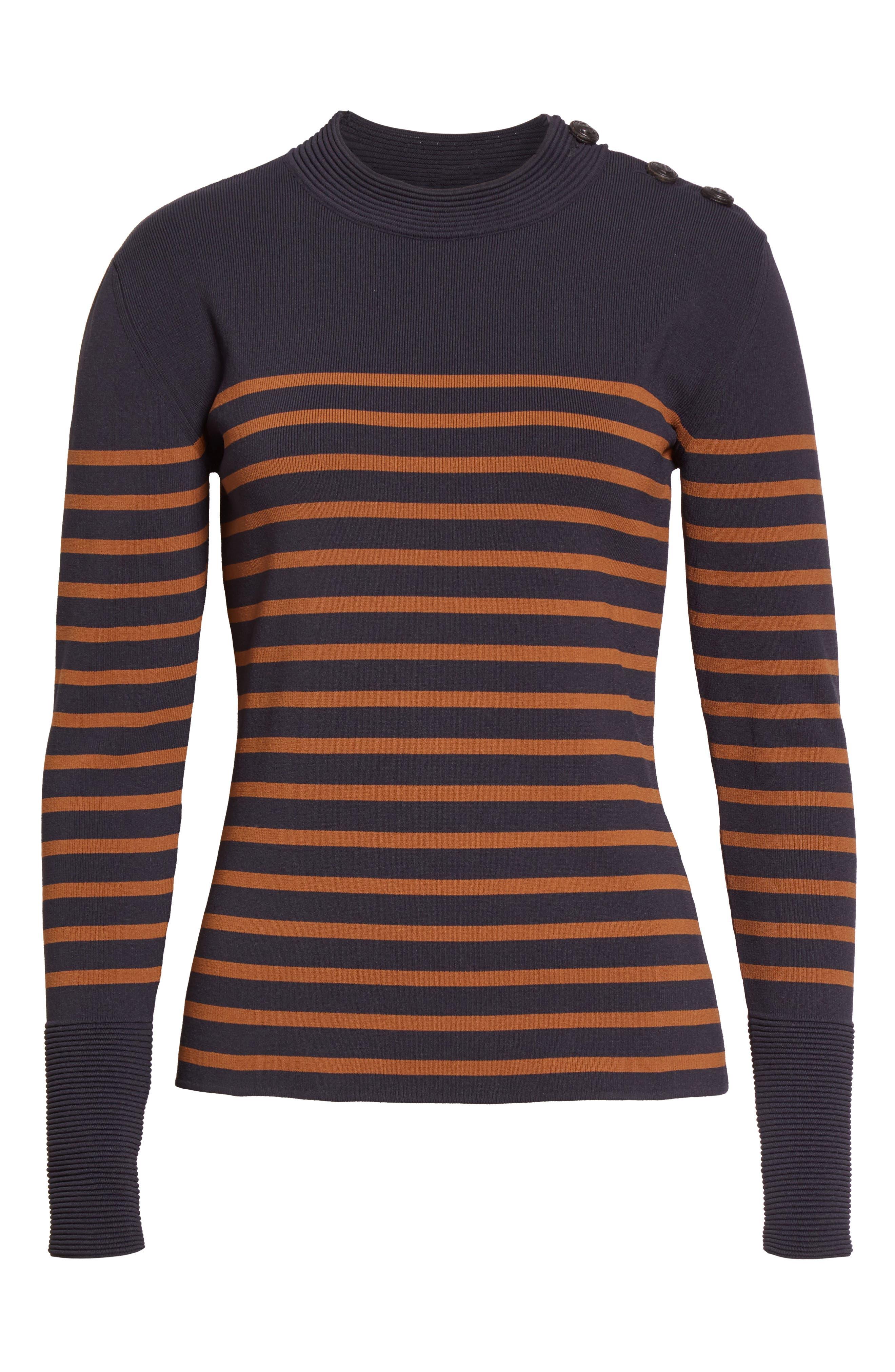 Selicia Stripe Sweater,                             Alternate thumbnail 4, color,                             Black