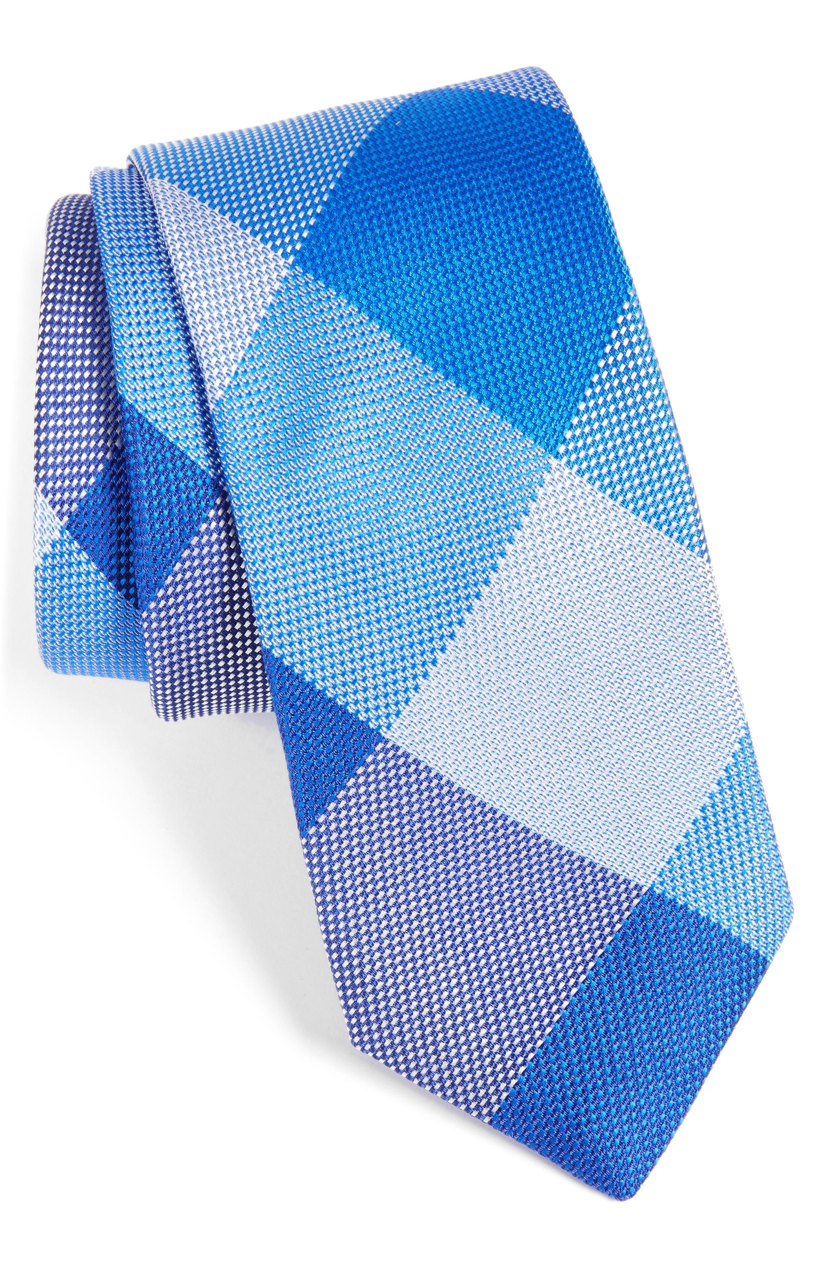 Plaid Silk Tie,                         Main,                         color, Blue