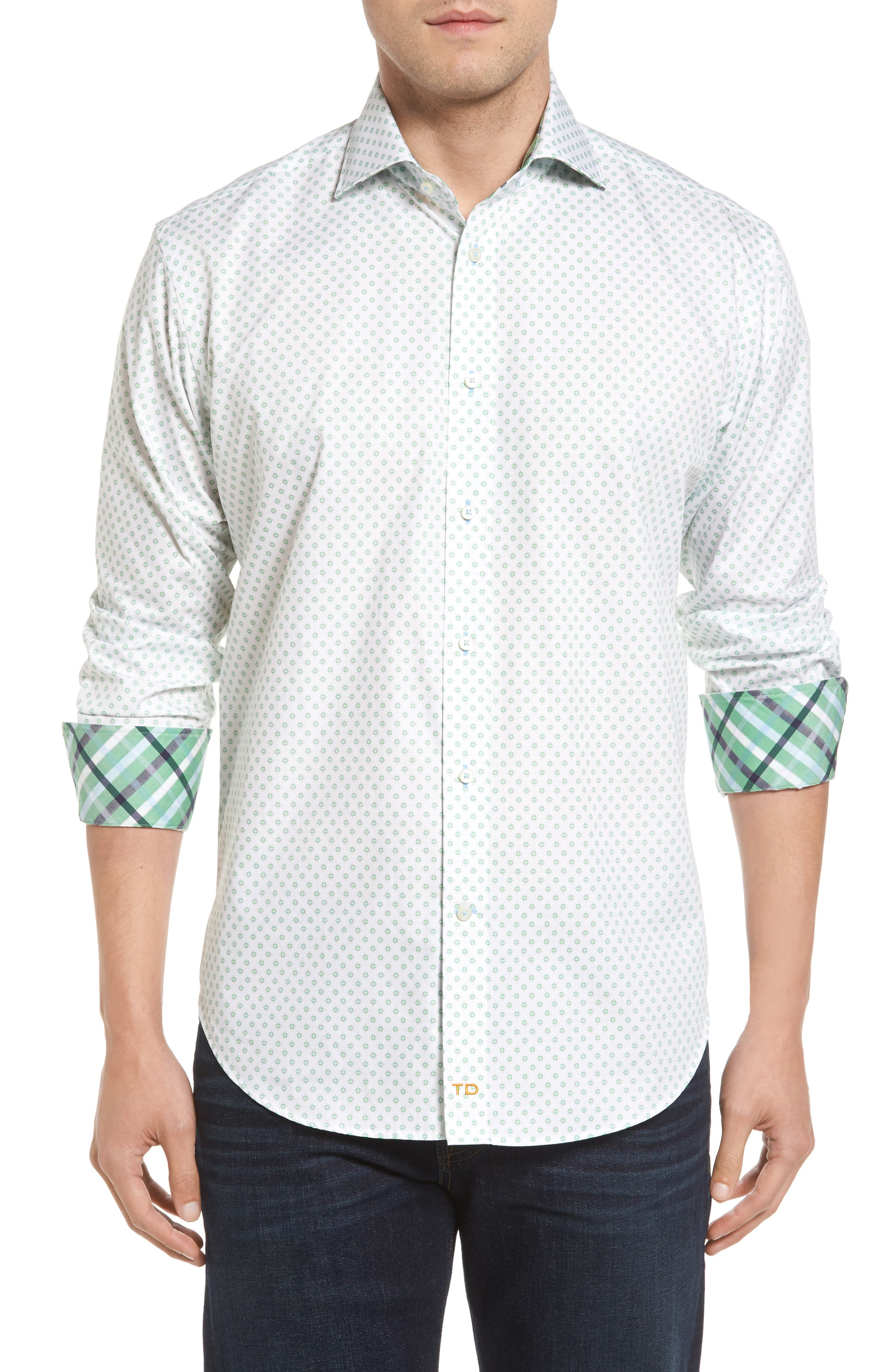 Classic Fit Neat Floral Print Sport Shirt,                         Main,                         color, Green