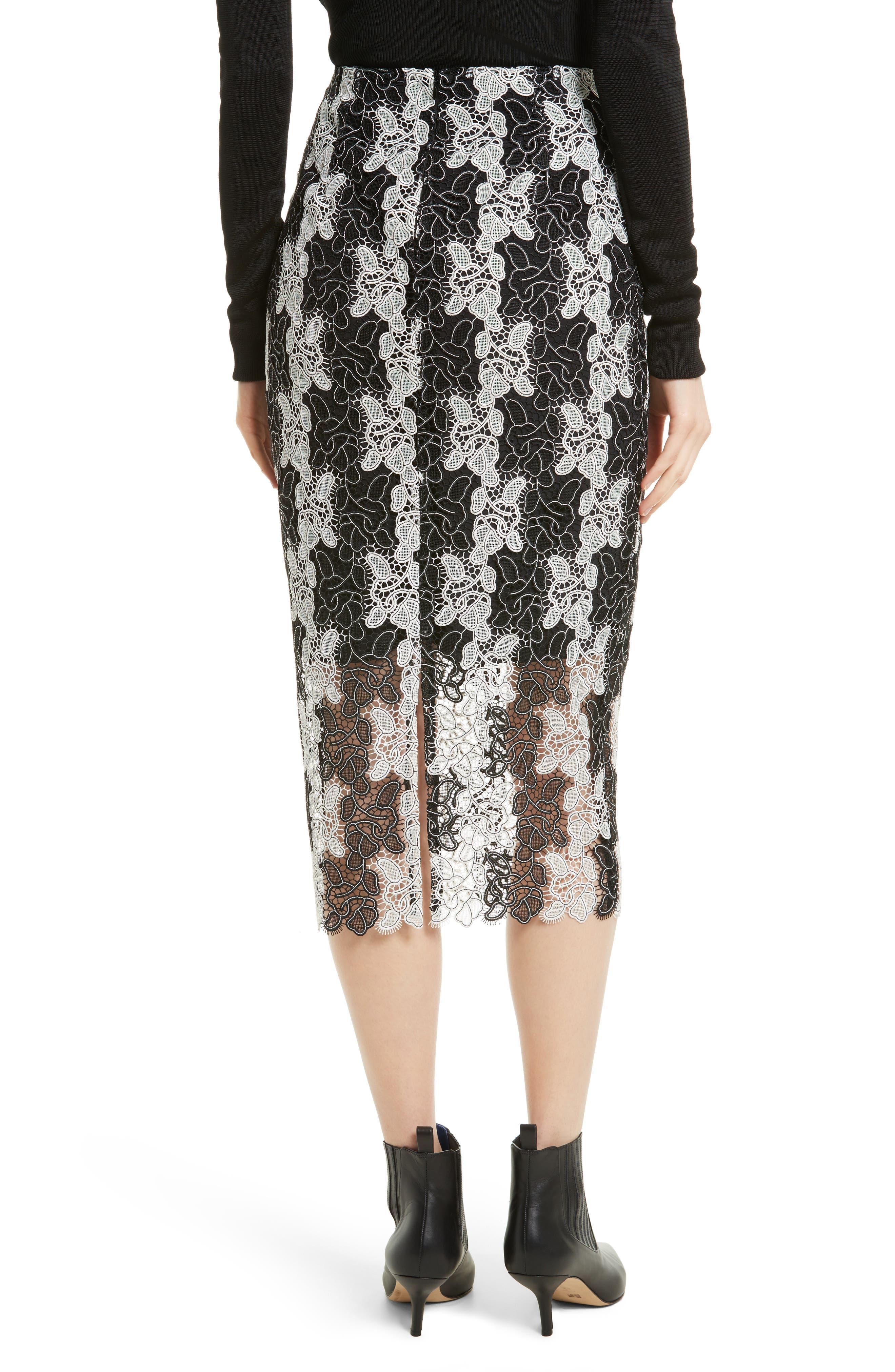 Lace Midi Skirt,                             Alternate thumbnail 2, color,                             Black/ White