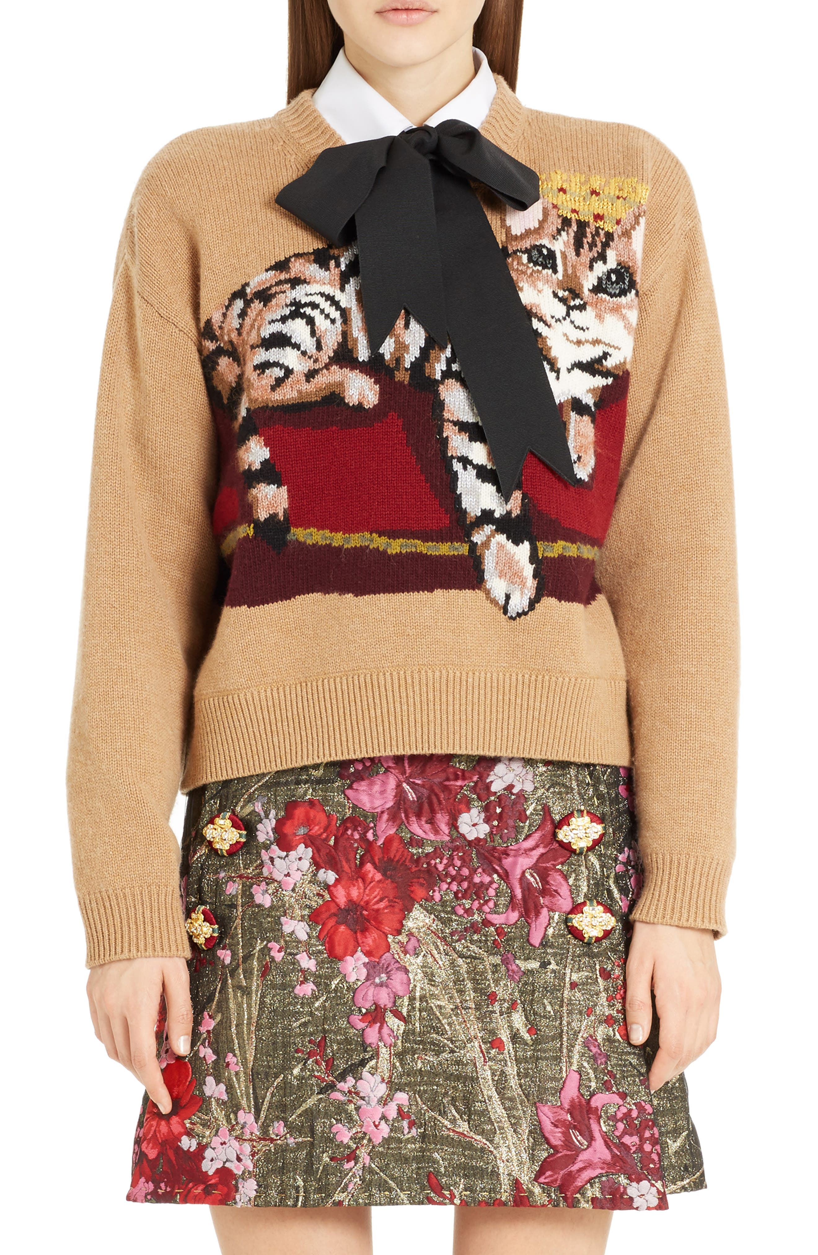 Cat Intarsia Cashmere, Wool & Mohair Blend Sweater,                         Main,                         color, Camel