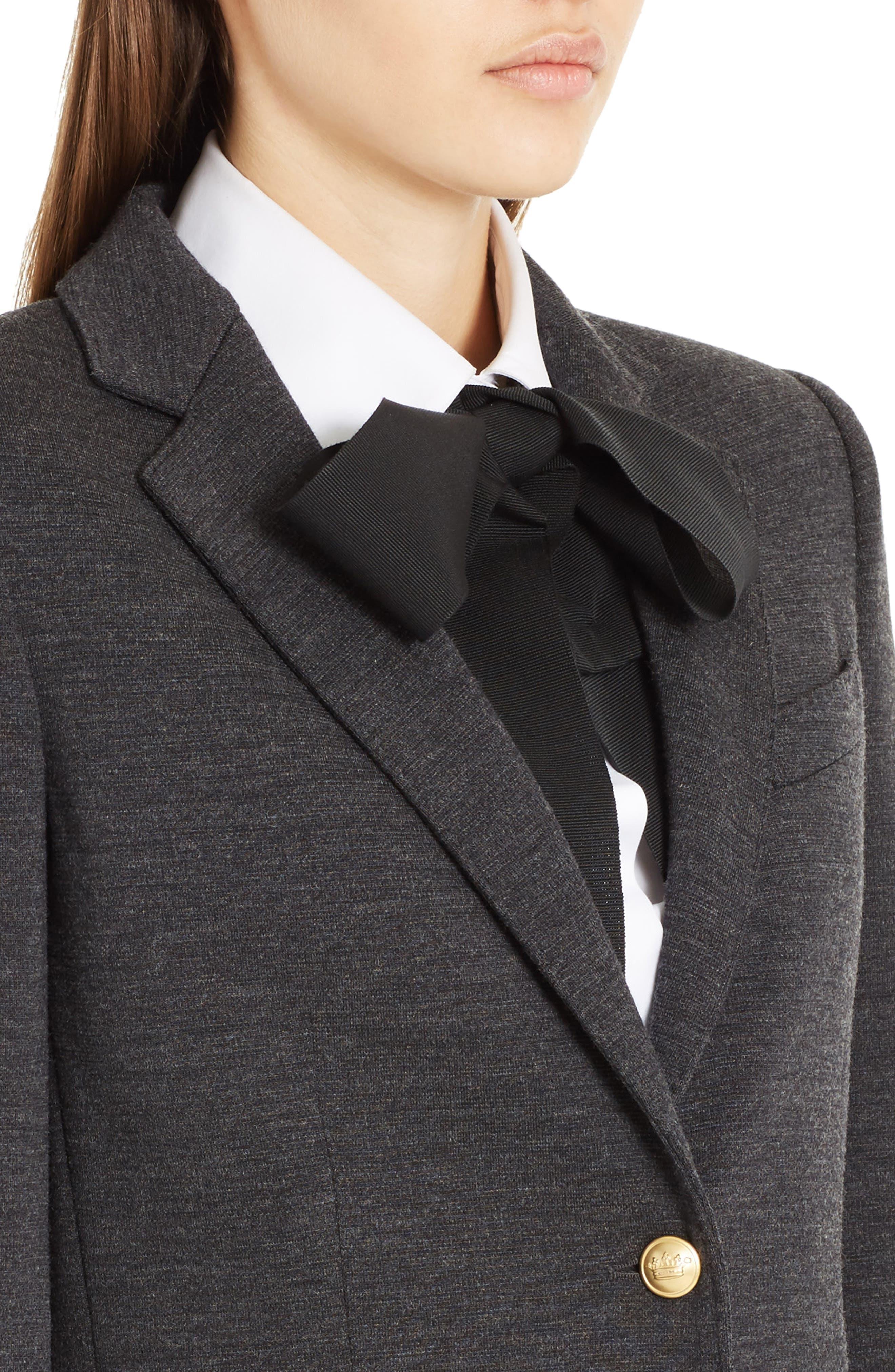 Punto Milano Wool Blazer,                             Alternate thumbnail 4, color,                             Grey Melange