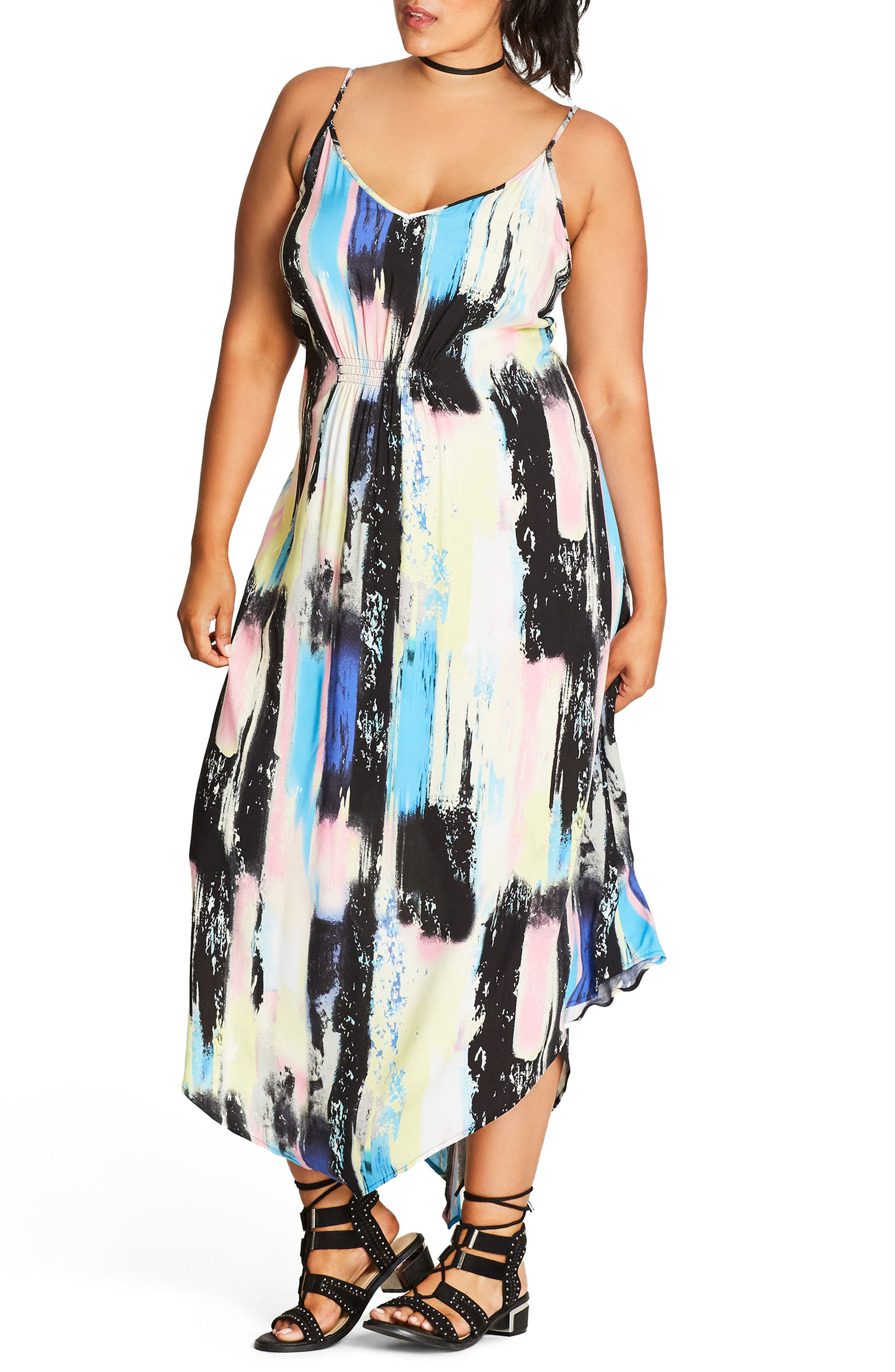 Alternate Image 1 Selected - City Chic Soft Smudge Print Maxi Dress (Plus Size)