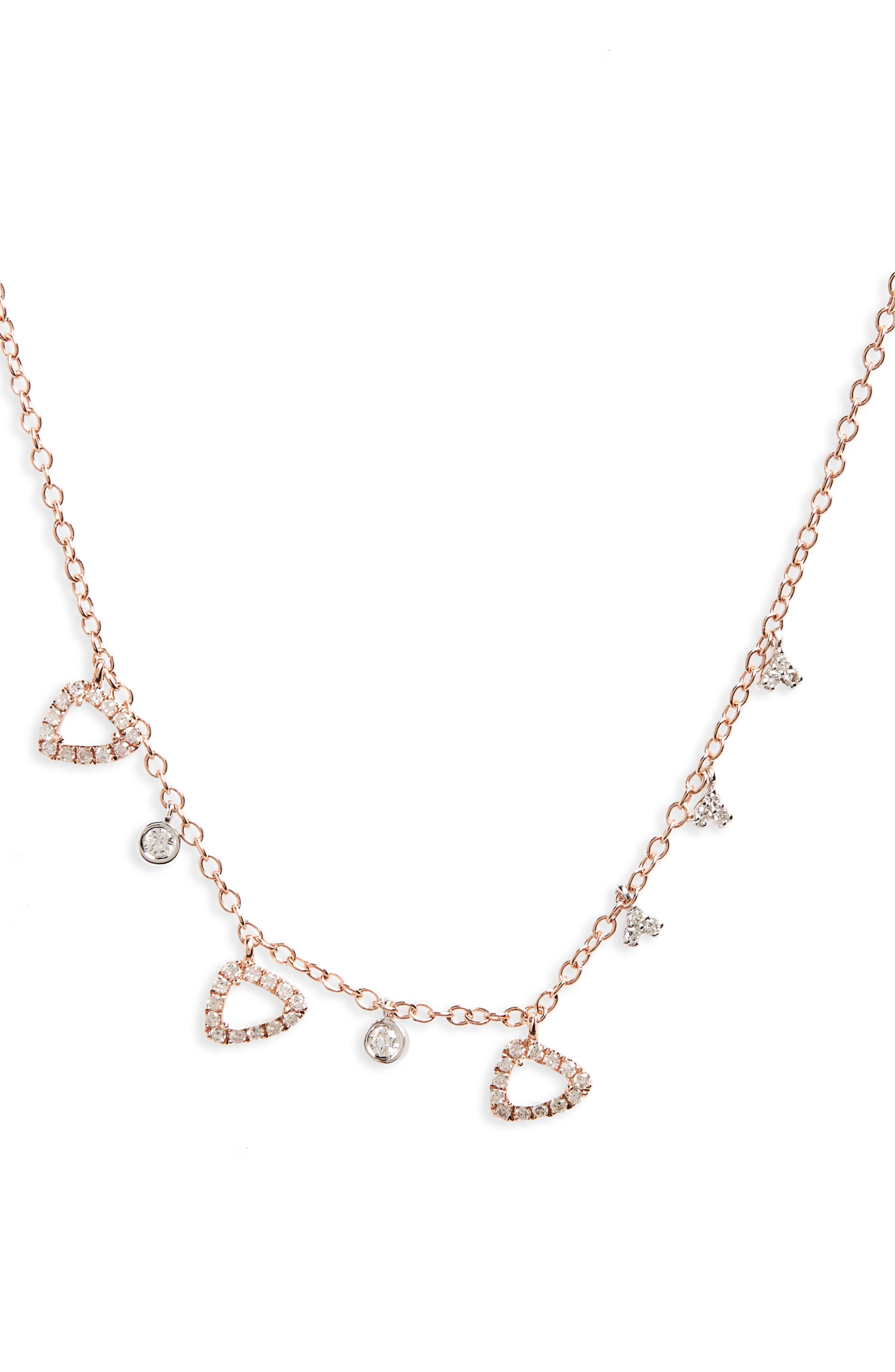 Semiprecious Stone Frontal Necklace,                             Main thumbnail 1, color,                             Rose Gold