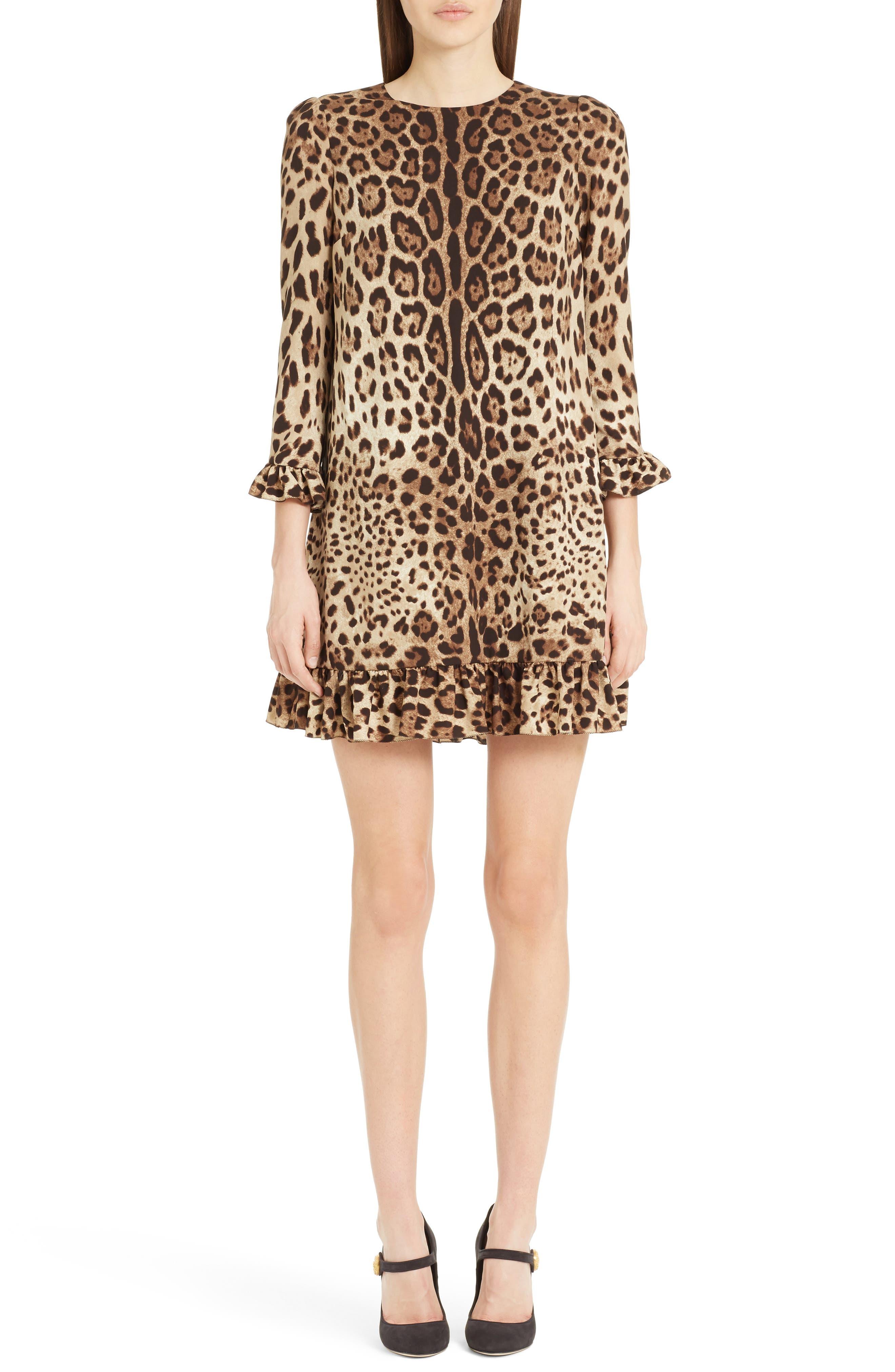 Leopard Print Stretch Silk Dress,                             Main thumbnail 1, color,                             Leopard