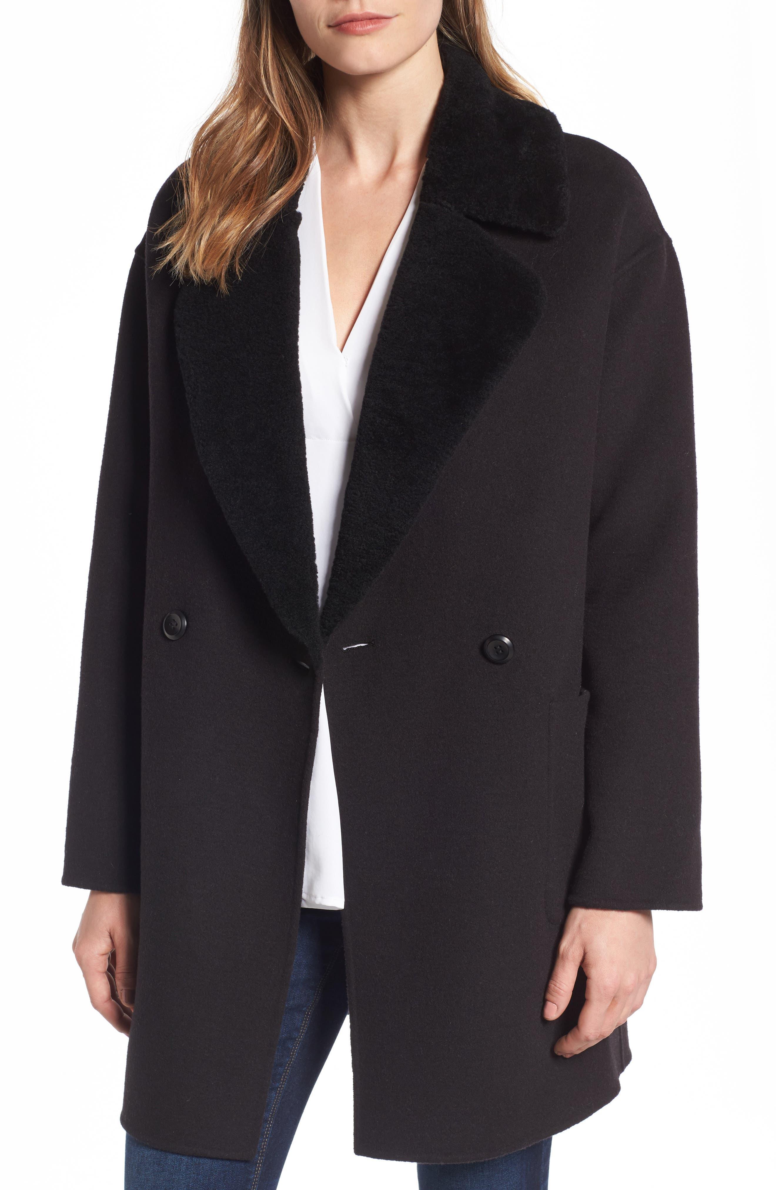 Dawn Genuine Shearling Collar Double Face Coat,                         Main,                         color, Black