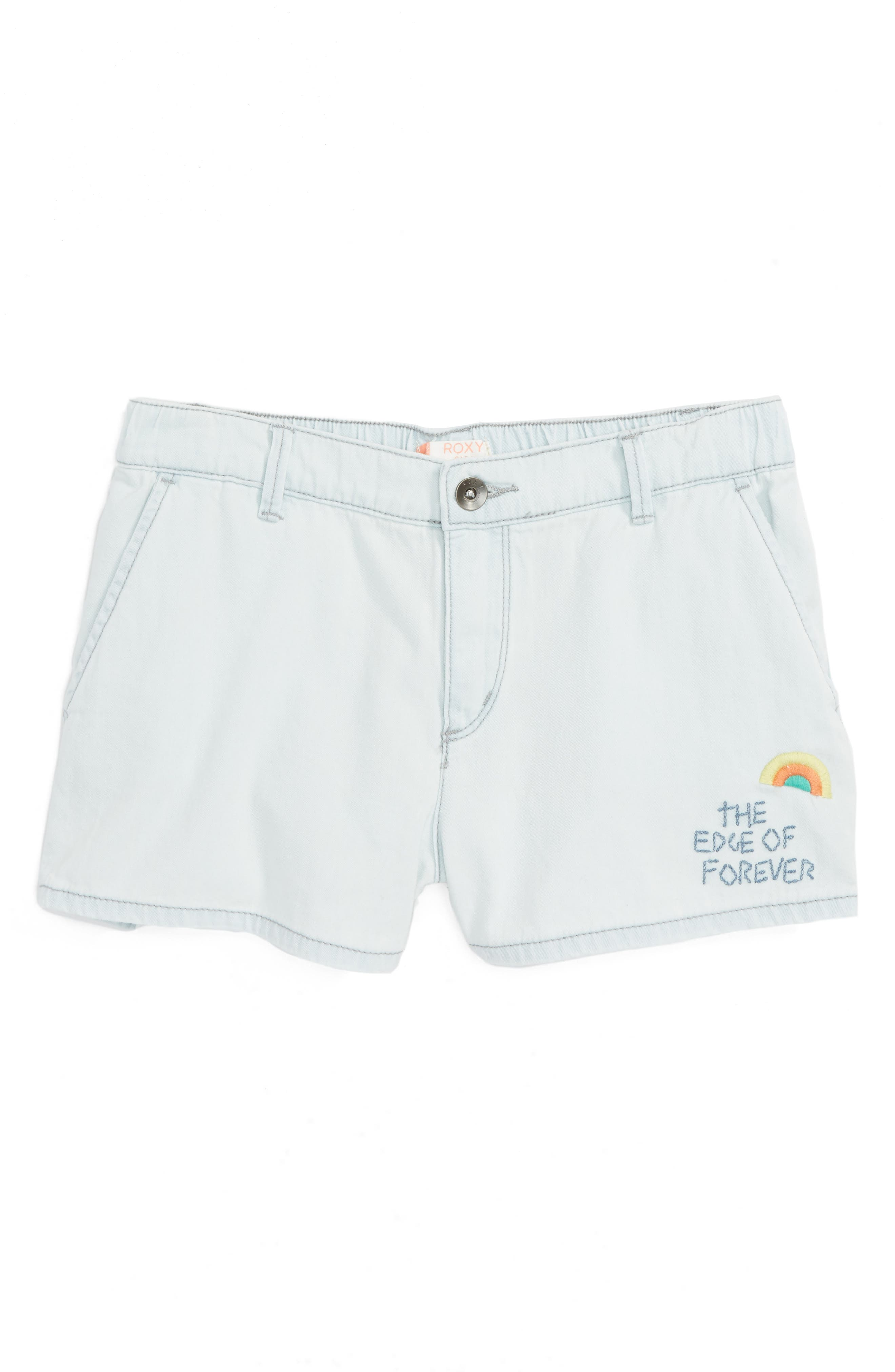 West Coast And U - Edge of Forever Rainbow Shorts,                             Main thumbnail 1, color,                             Bleached Blue