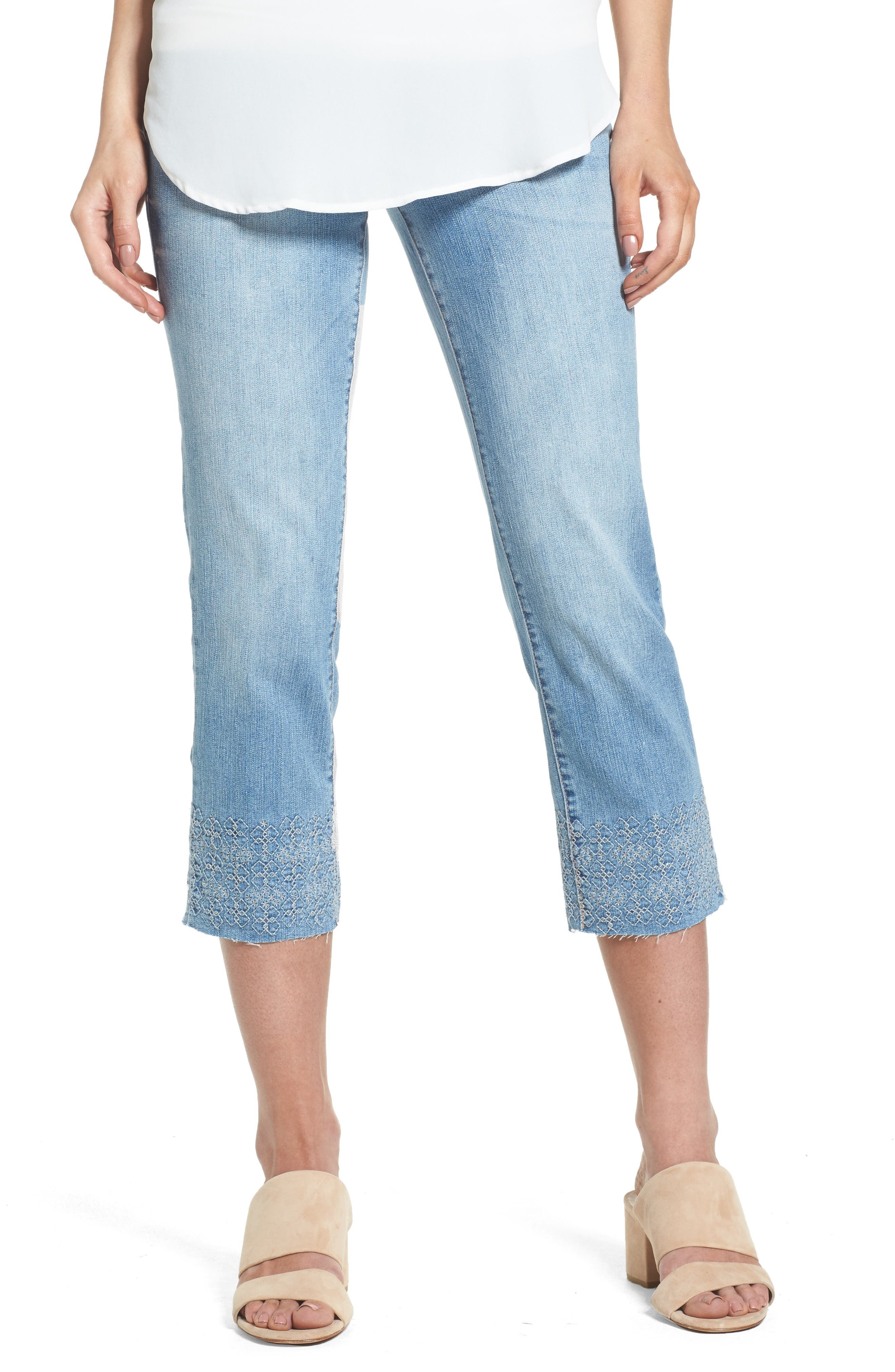 JAG JEANS Baker Pull-On Embroidered Crop Jeans