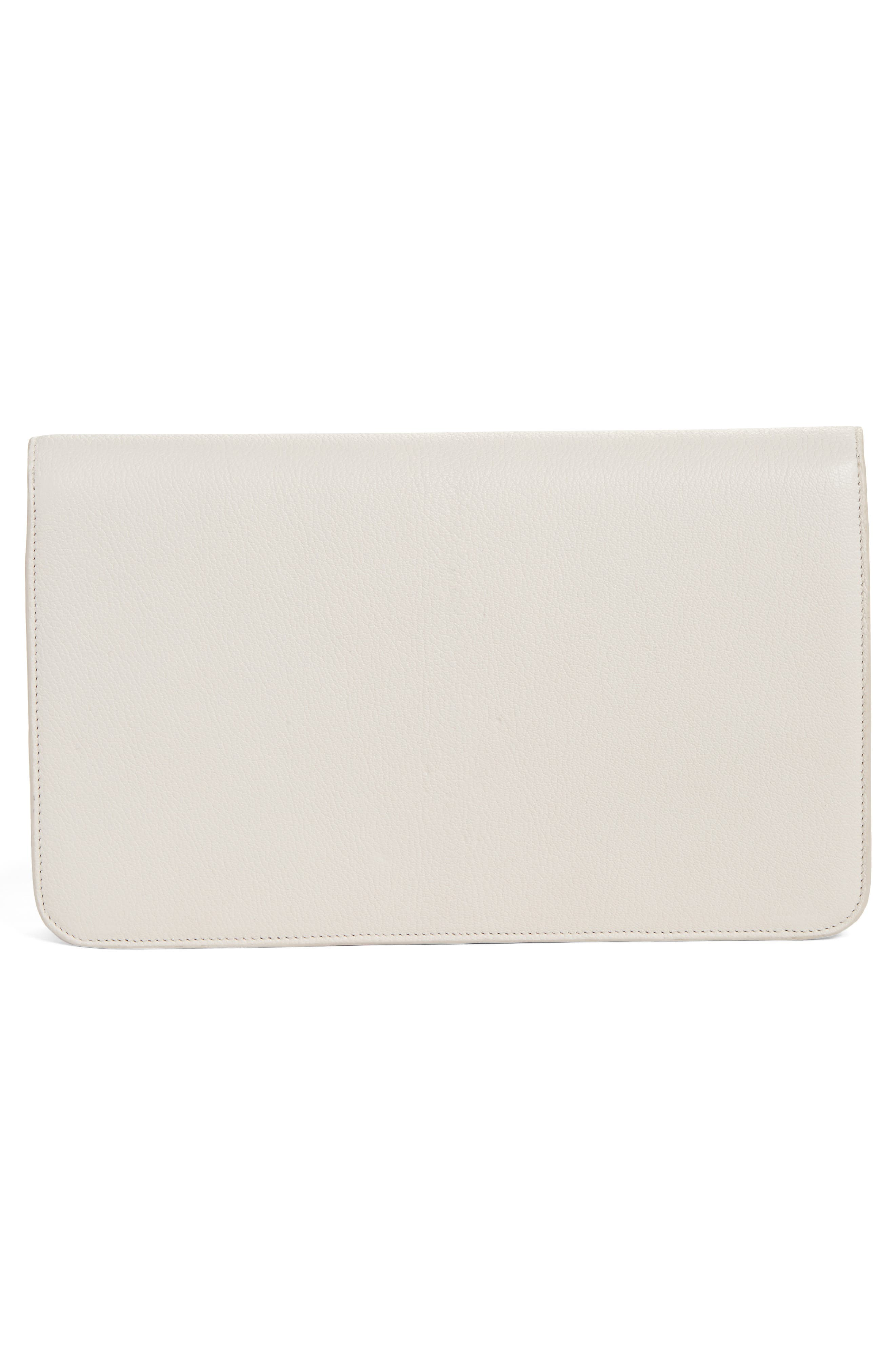 Heart Leather Clutch,                             Alternate thumbnail 3, color,                             Off White
