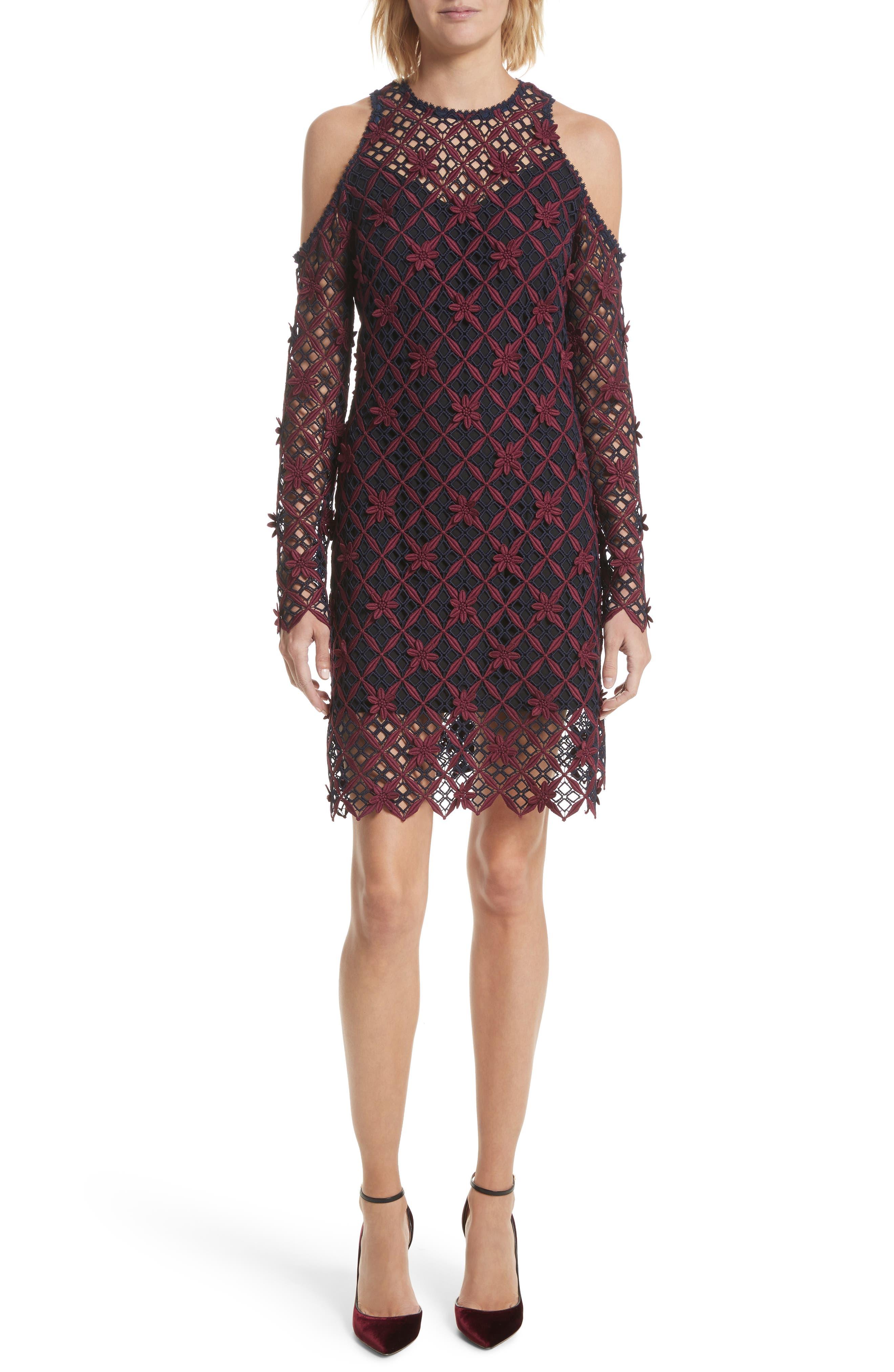Floral Grid Cold Shoulder Dress,                         Main,                         color, Multi