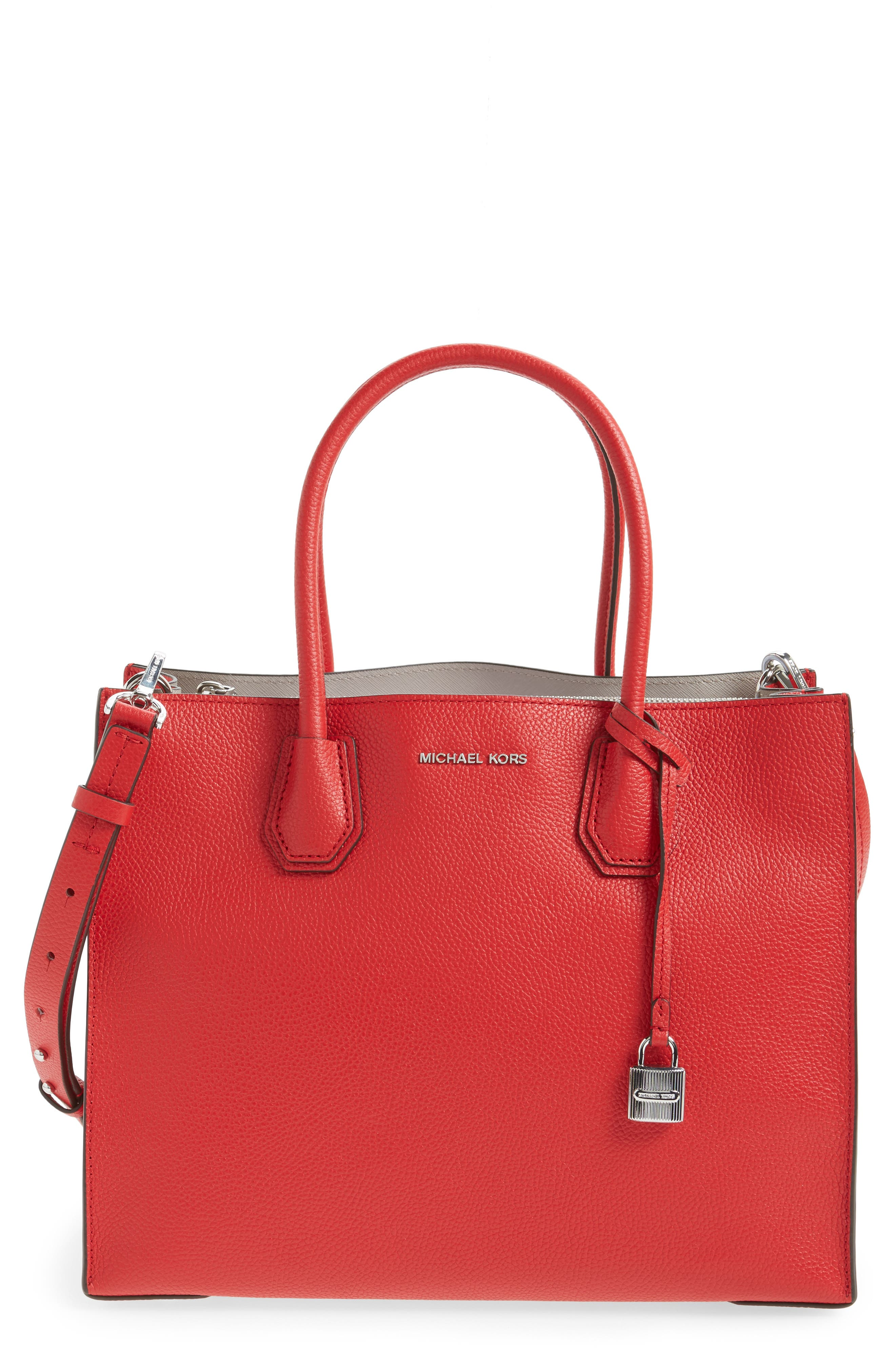'Large Mercer' Tote,                         Main,                         color, Bright Red