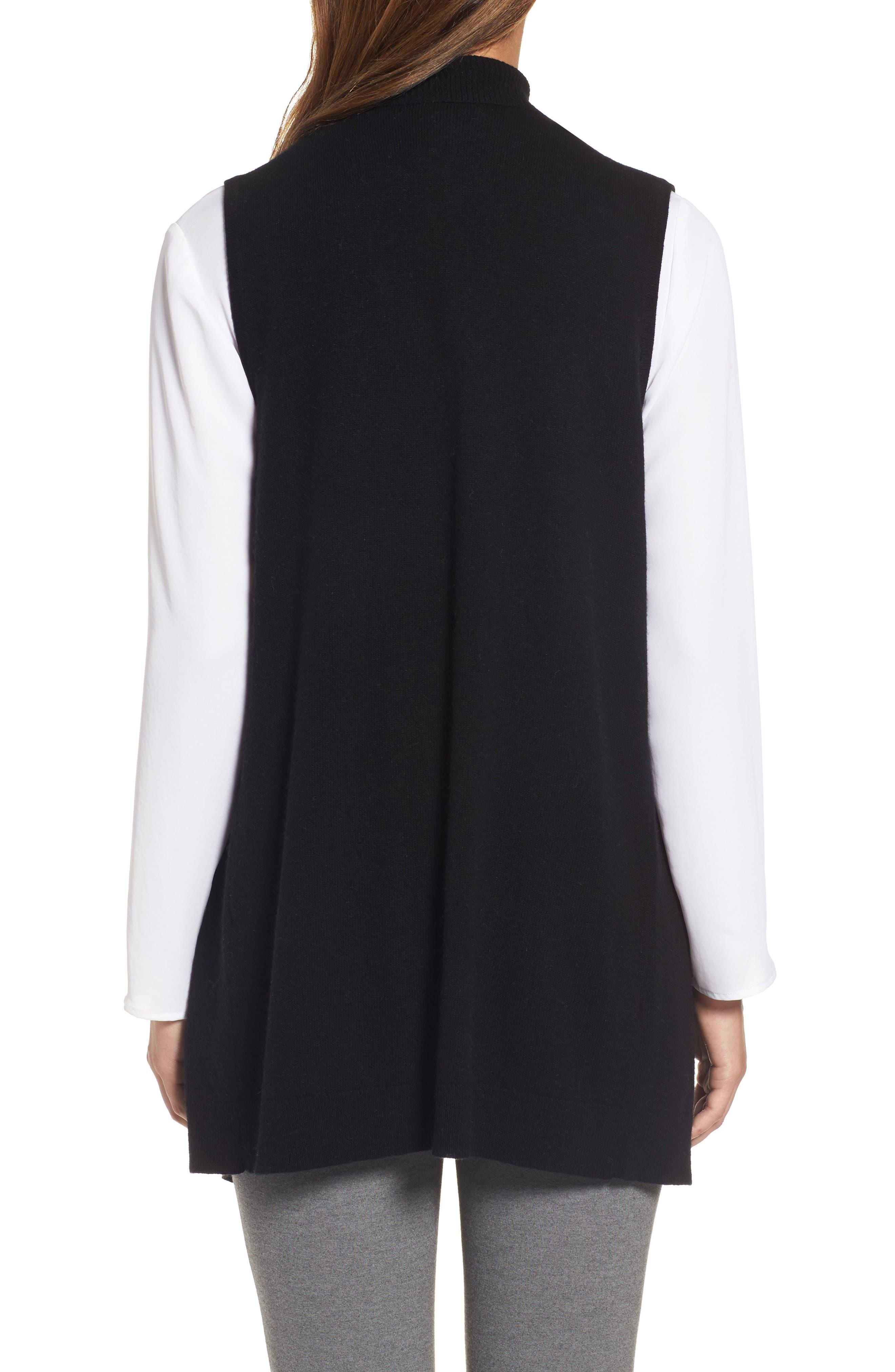 Wool & Cashmere Drape Front Sweater Vest,                             Alternate thumbnail 2, color,                             Black