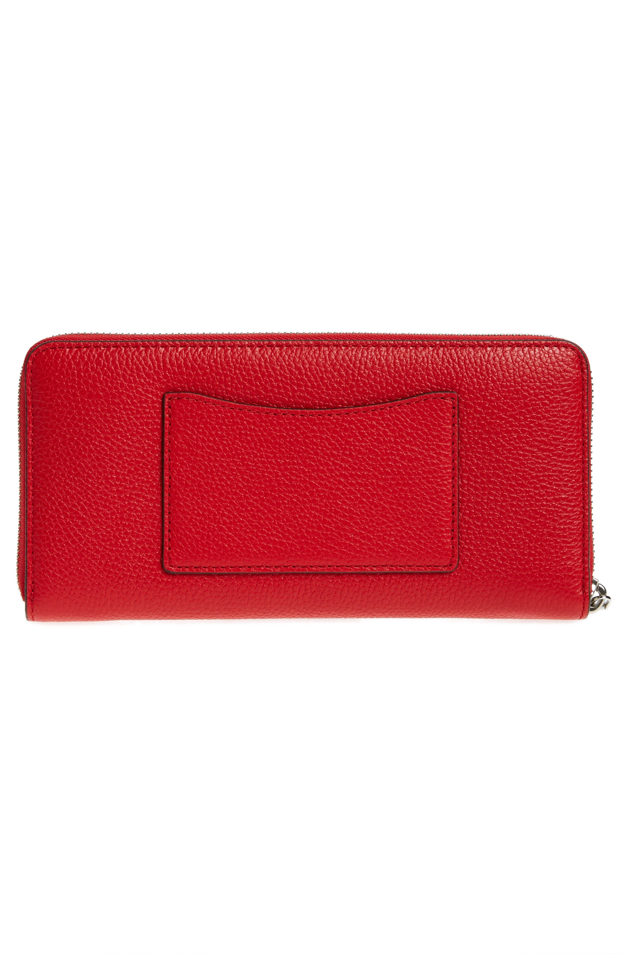 Mercer Leather Continental Wallet,                             Alternate thumbnail 4, color,                             Bright Red