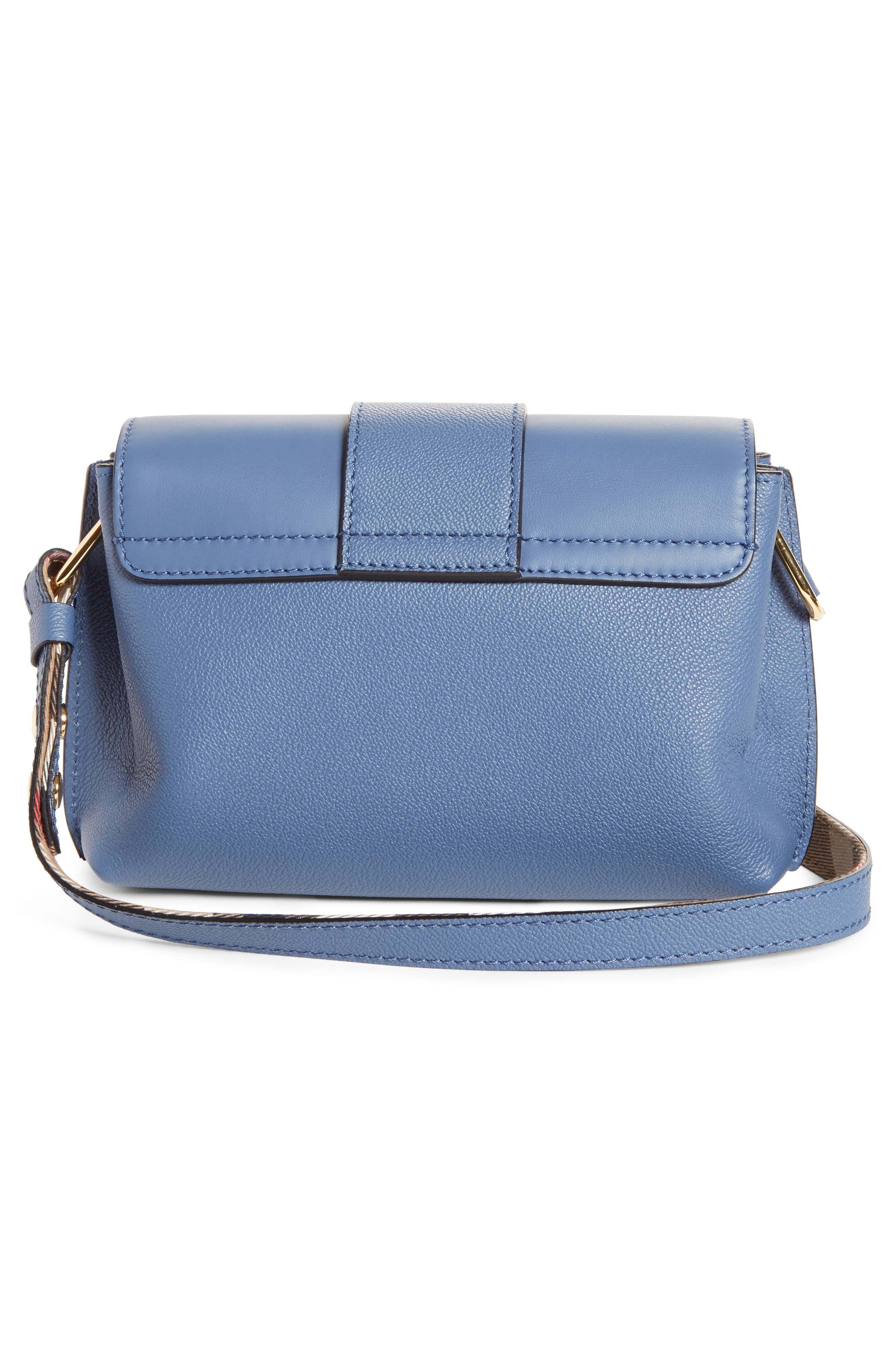 Small Buckle Leather Crossbody Bag,                             Alternate thumbnail 3, color,                             Slate Blue